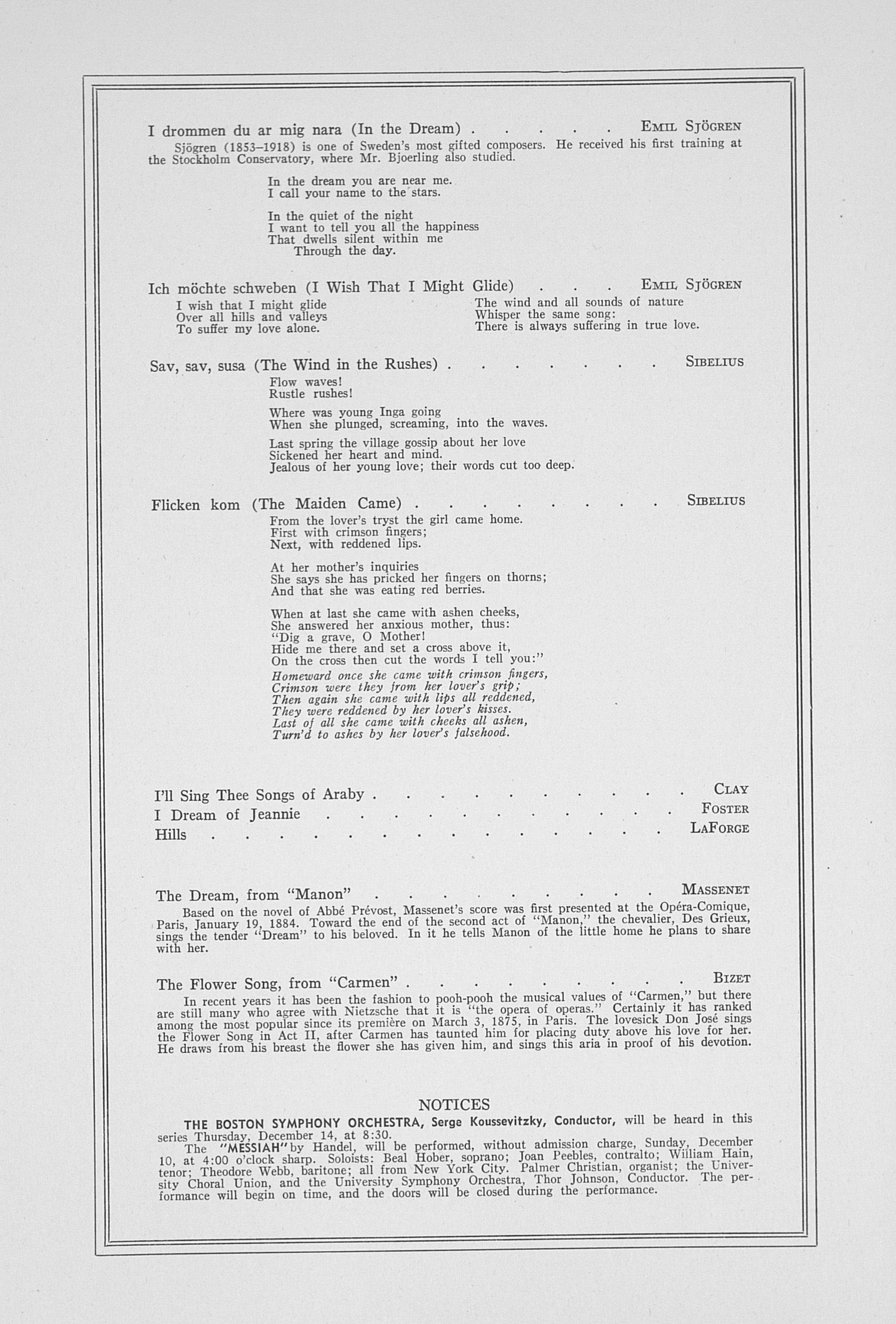 UMS Concert Program, December 4, 1939: Sixty-first Annual Choral Union Concert Series -- Jussi Bjoerling image