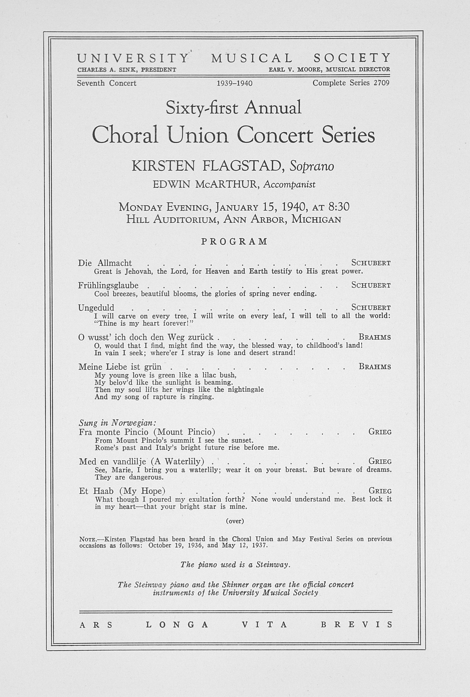 UMS Concert Program, January 15, 1940: Sixty-first Annual Choral Union Concert Series -- Kirsten Flagstad image
