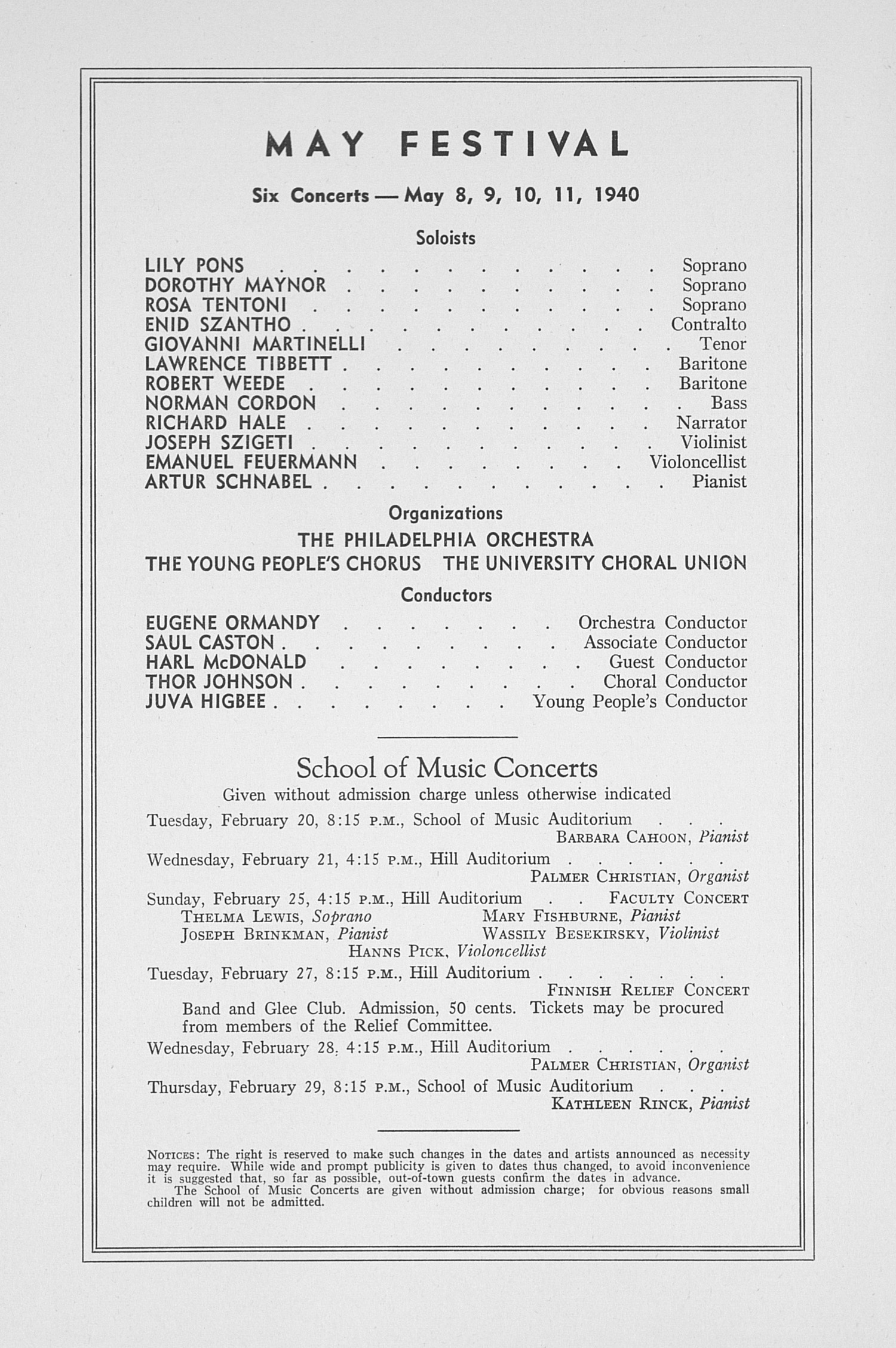 UMS Concert Program, February 14, 1940: Sixty-first Annual Choral Union Concert Series -- BartlettRobertson image