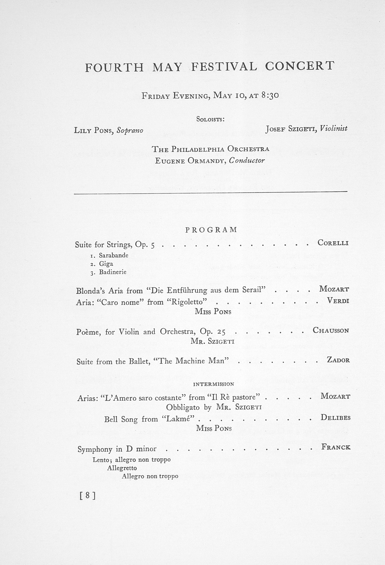 UMS Concert Program, May 8, 9, 10, And 11, 1940: The Forty-seventh Annual May Festival -- The Philadelphia Orchestra image