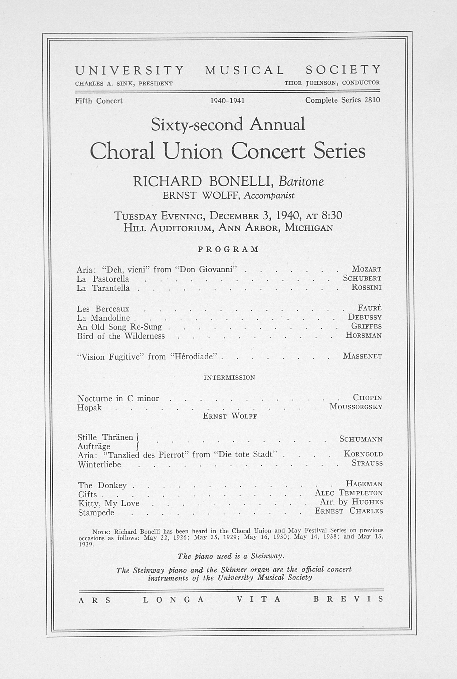 UMS Concert Program, December 3, 1940: Sixty-second Annual Choral Union Concert Series -- Richard Bonelli image