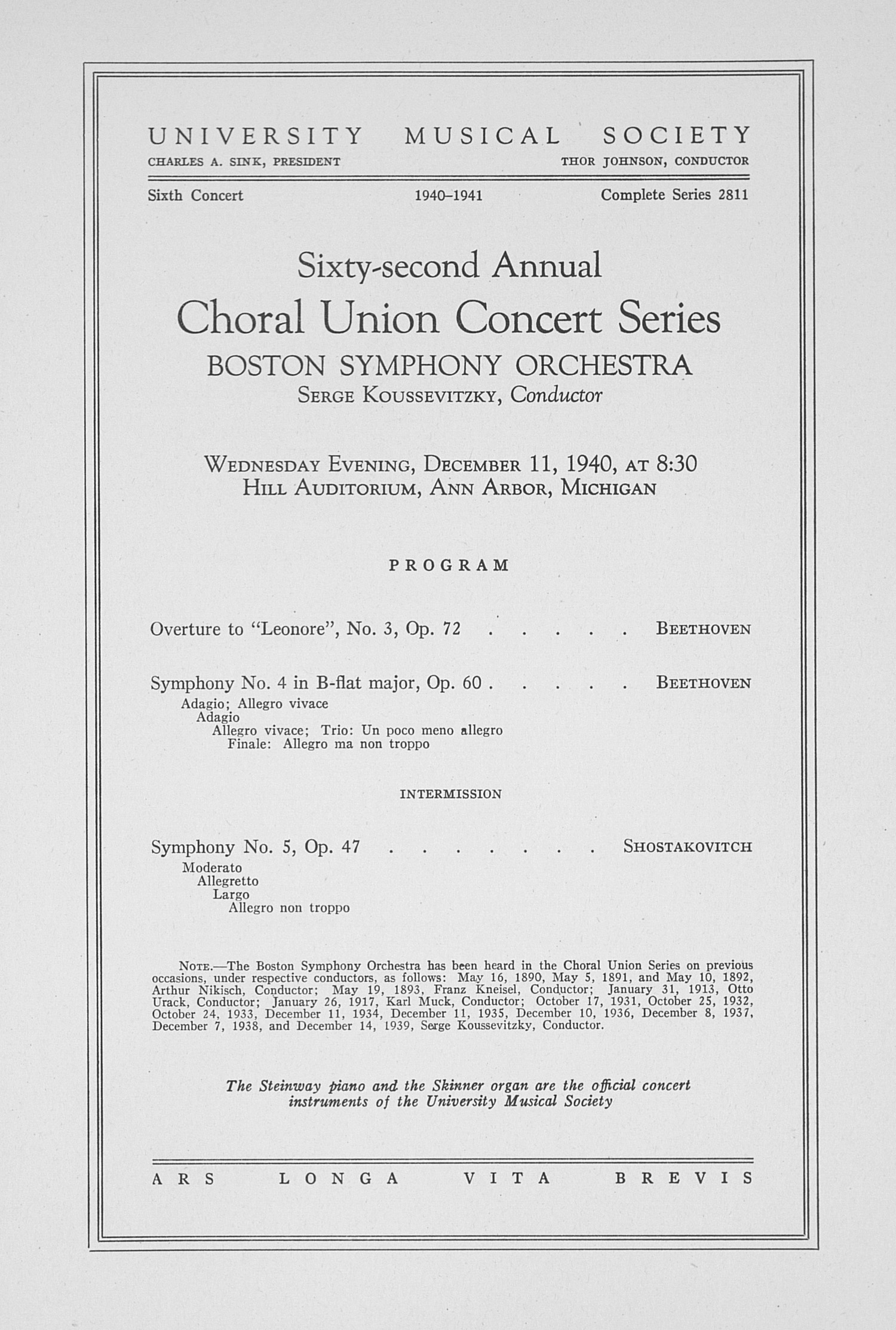 UMS Concert Program, December 11, 1940: Sixty-second Annual Choral Union Concert Series -- Boston Symphony Orchestra image