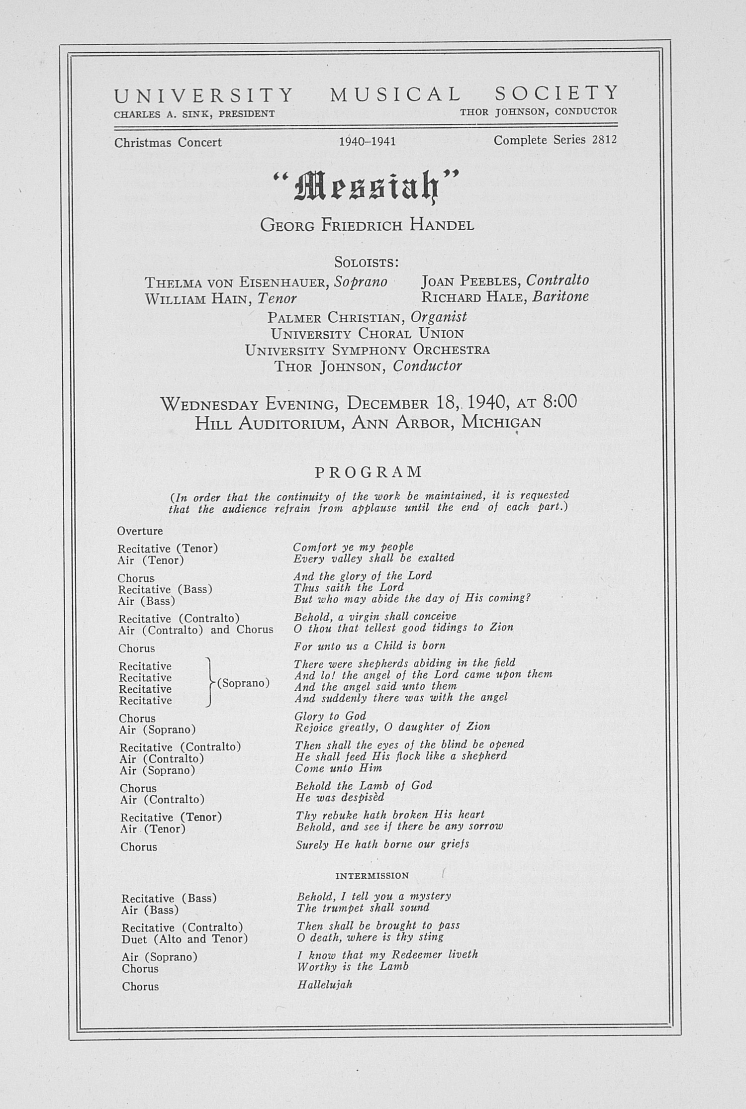 "UMS Concert Program, December 18, 1940: ""messiah"" -- Georg Friedrich Handel image"