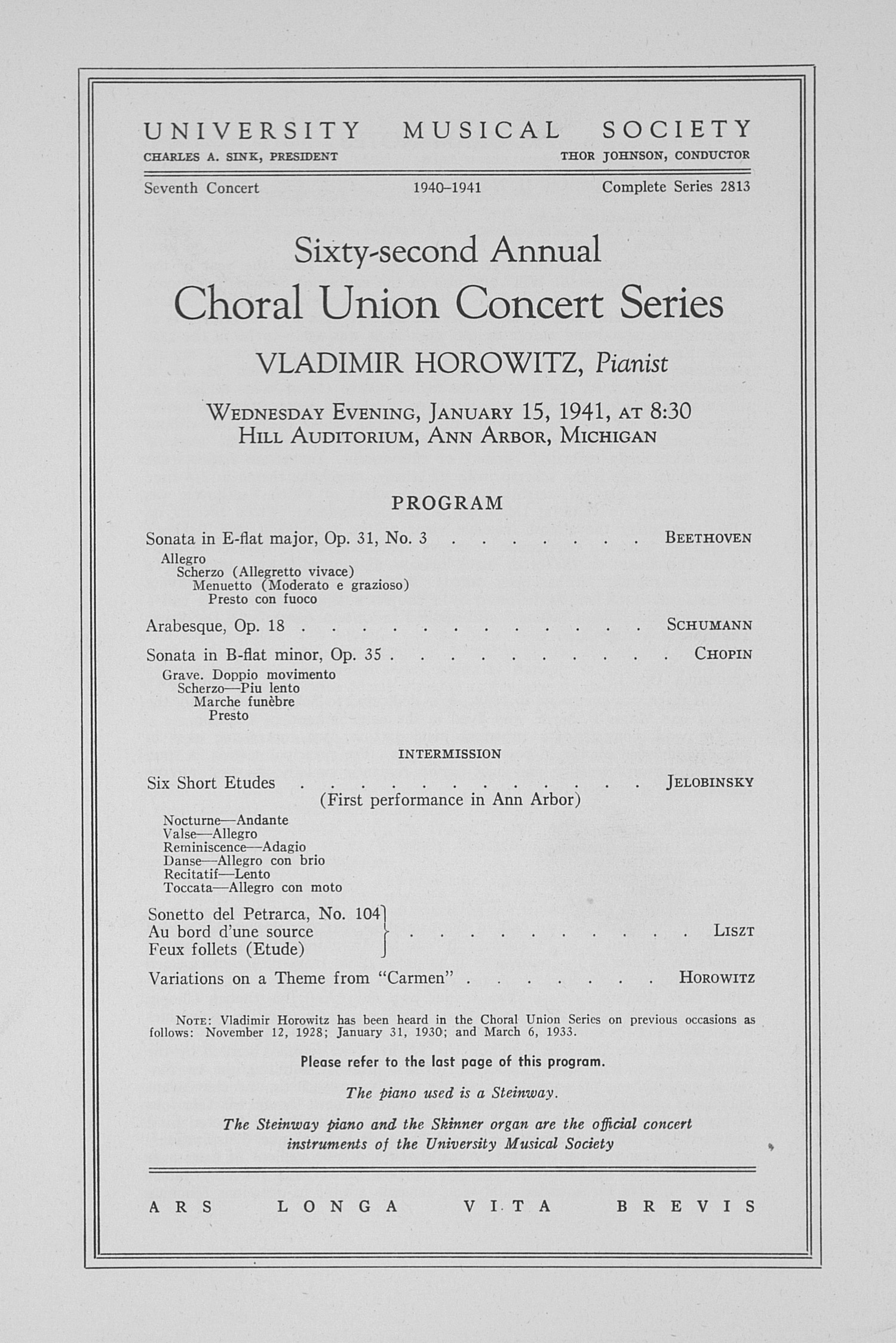 UMS Concert Program, January 15, 1941: Sixty-second Annual Choral Union Concert Series -- Vladimir Horowitz image