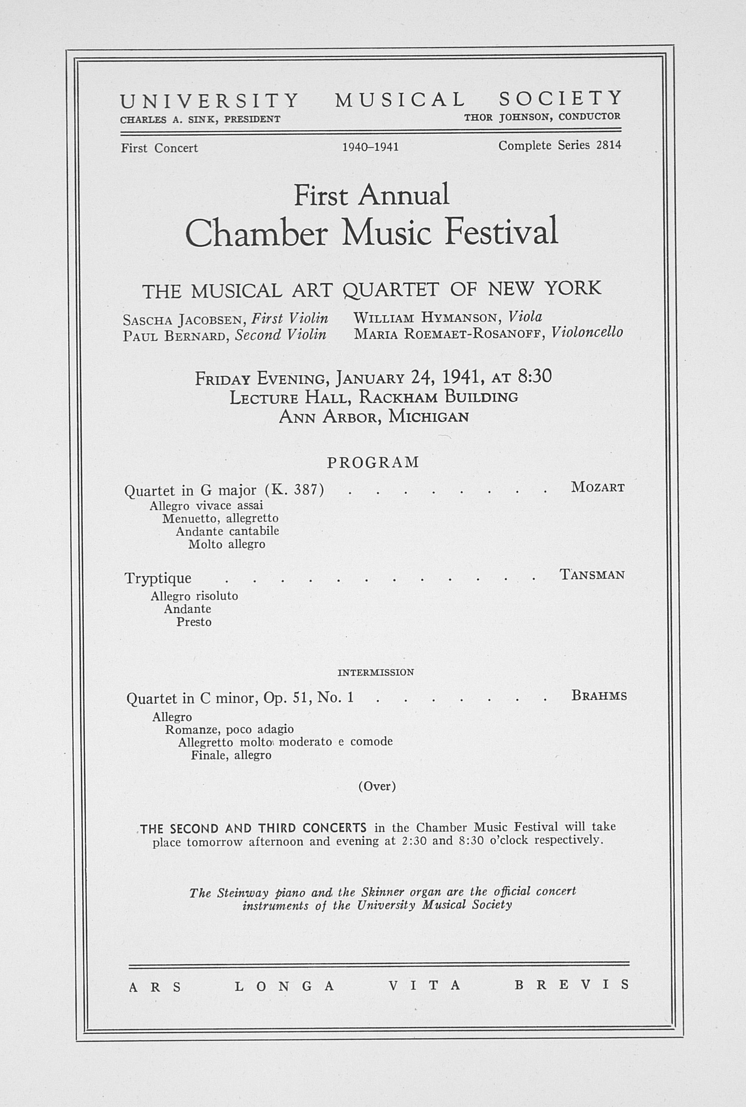UMS Concert Program, January 24, 1941: First Annual Chamber Music Festival -- The Musical Art Quartet Of New York image