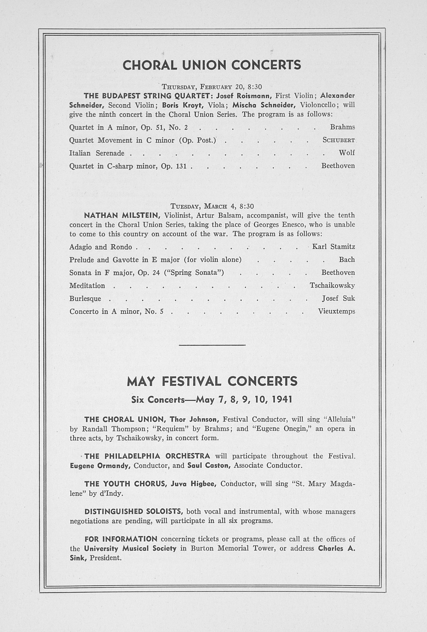 UMS Concert Program, January 28, 1941: Sixty-second Annual Choral Union Concert Series -- Minneapolis Symphony Orchestra image
