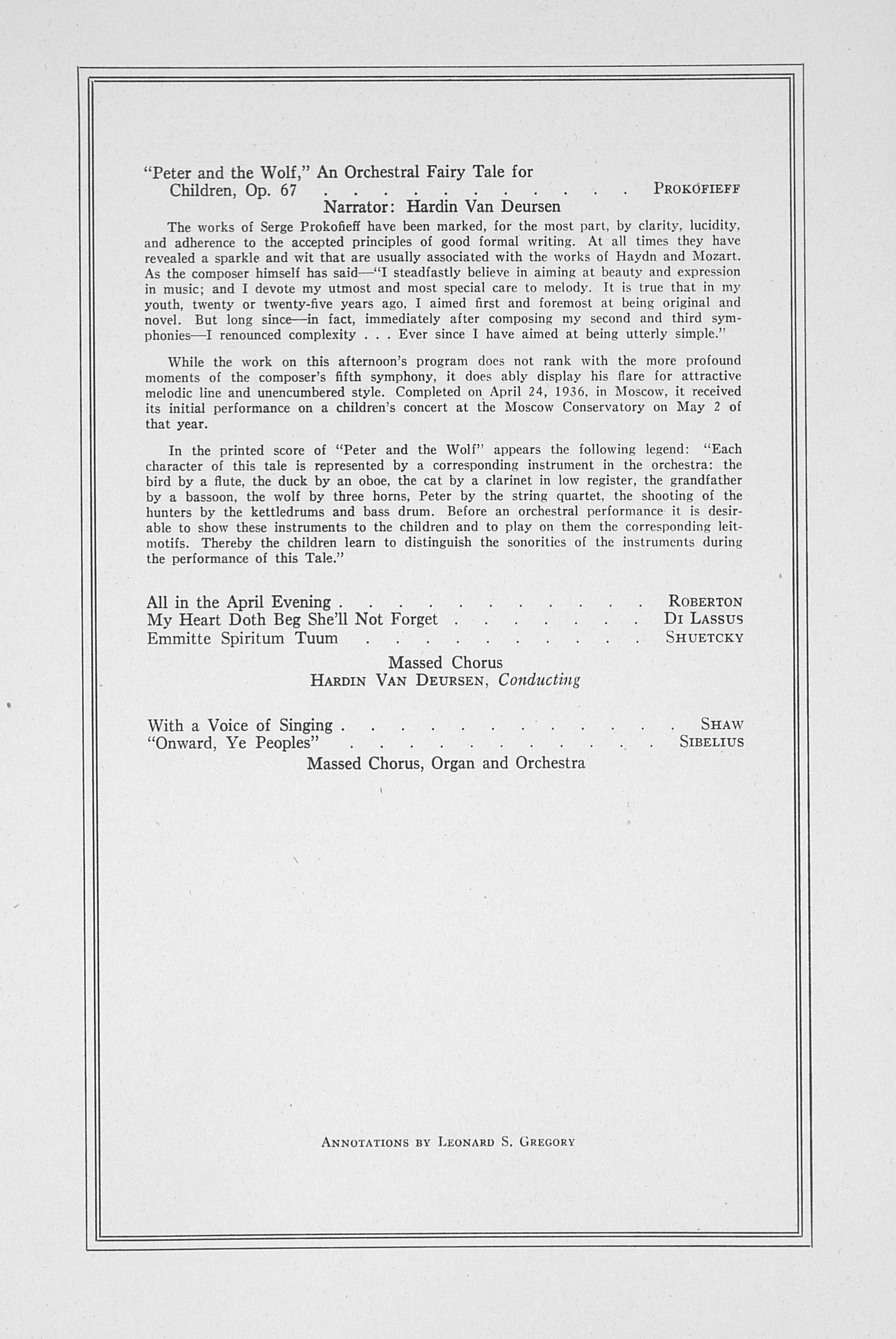 UMS Concert Program, April 26, 1941: The Music Section Of The Michigan Schoolmasters' Club -- University Of Michigan Symphony Orchestra image