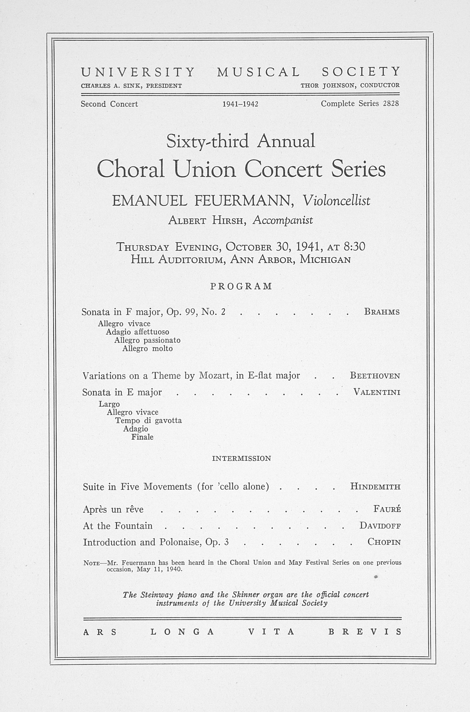 UMS Concert Program, October 30, 1941: Sixty-third Annual Choral Union Concert Series -- Emanuel Feuermann image