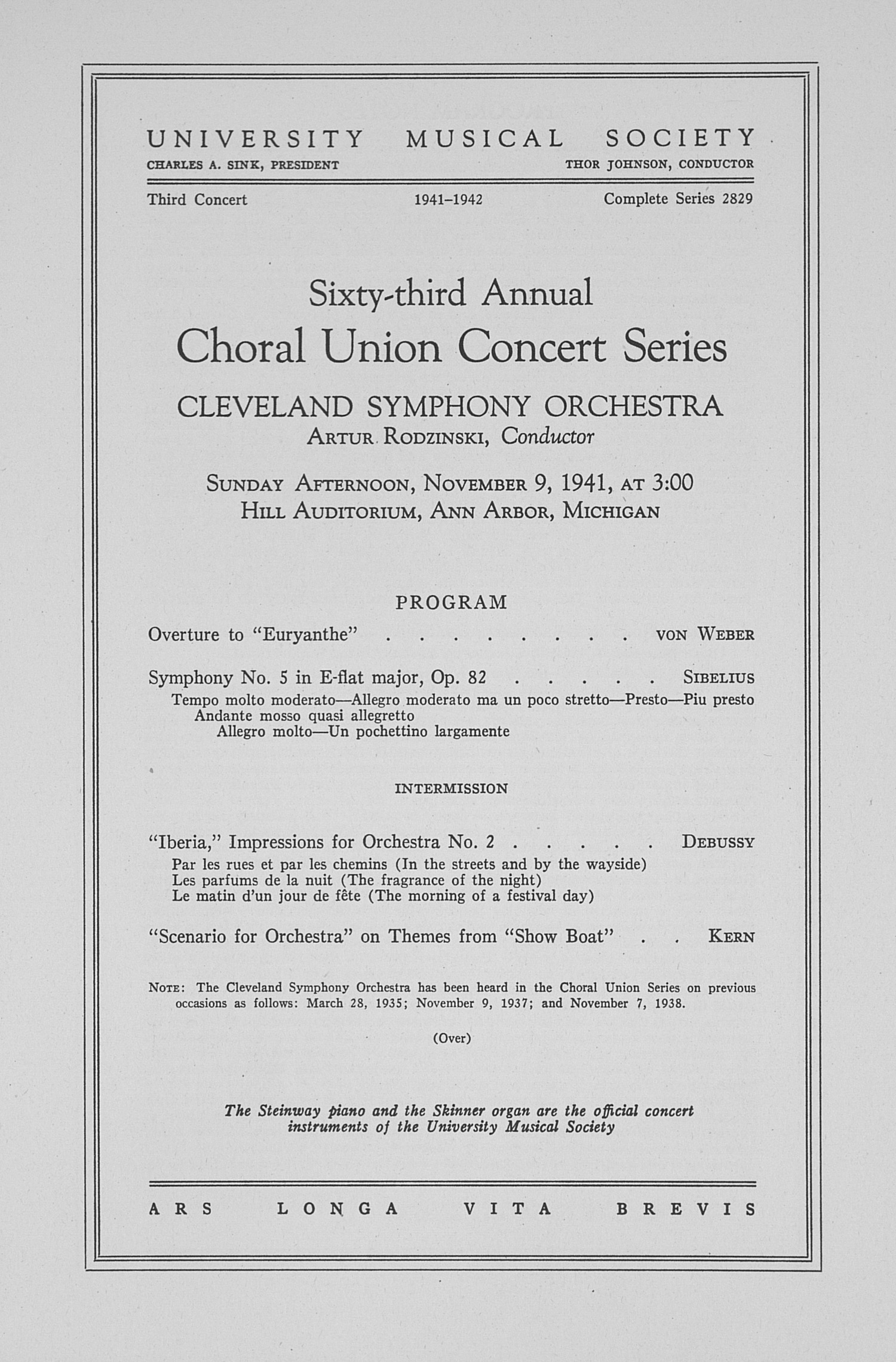 UMS Concert Program, November 9, 1941: Sixty-third Annual Choral Union Concert Series -- Cleveland Symphony Orchestra image