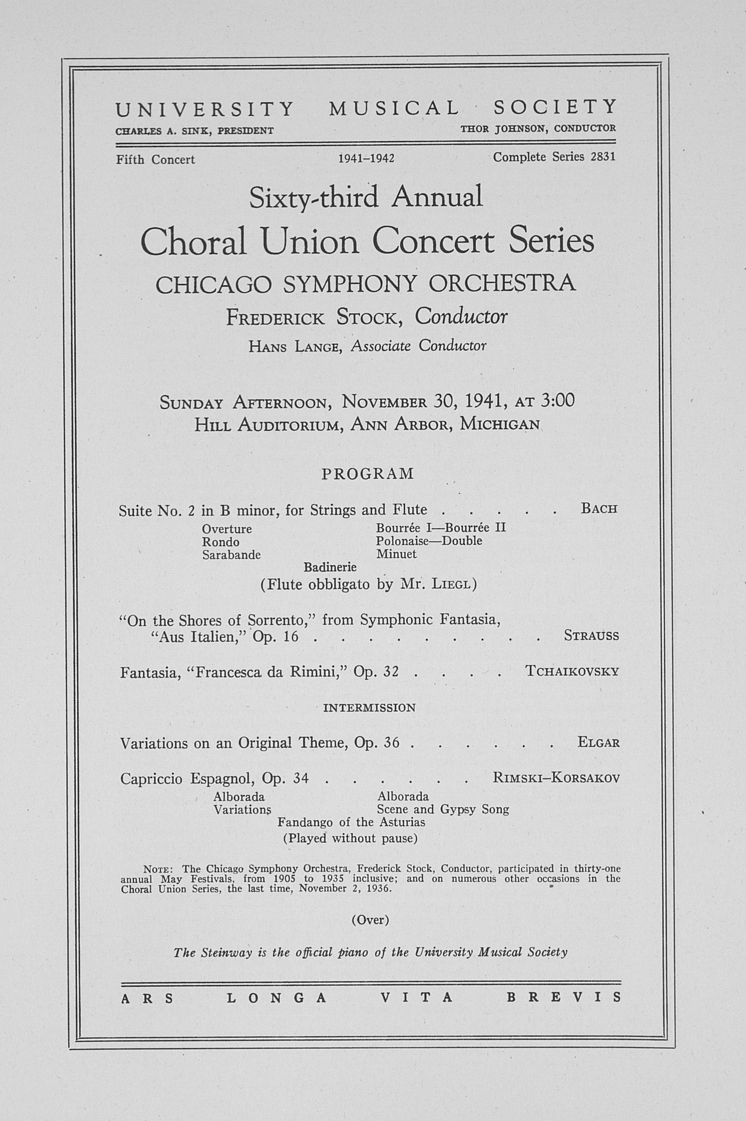 UMS Concert Program, November 30, 1941: Sixty-third Annual Choral Union Concert Series -- Chicago Symphony Orchestra image
