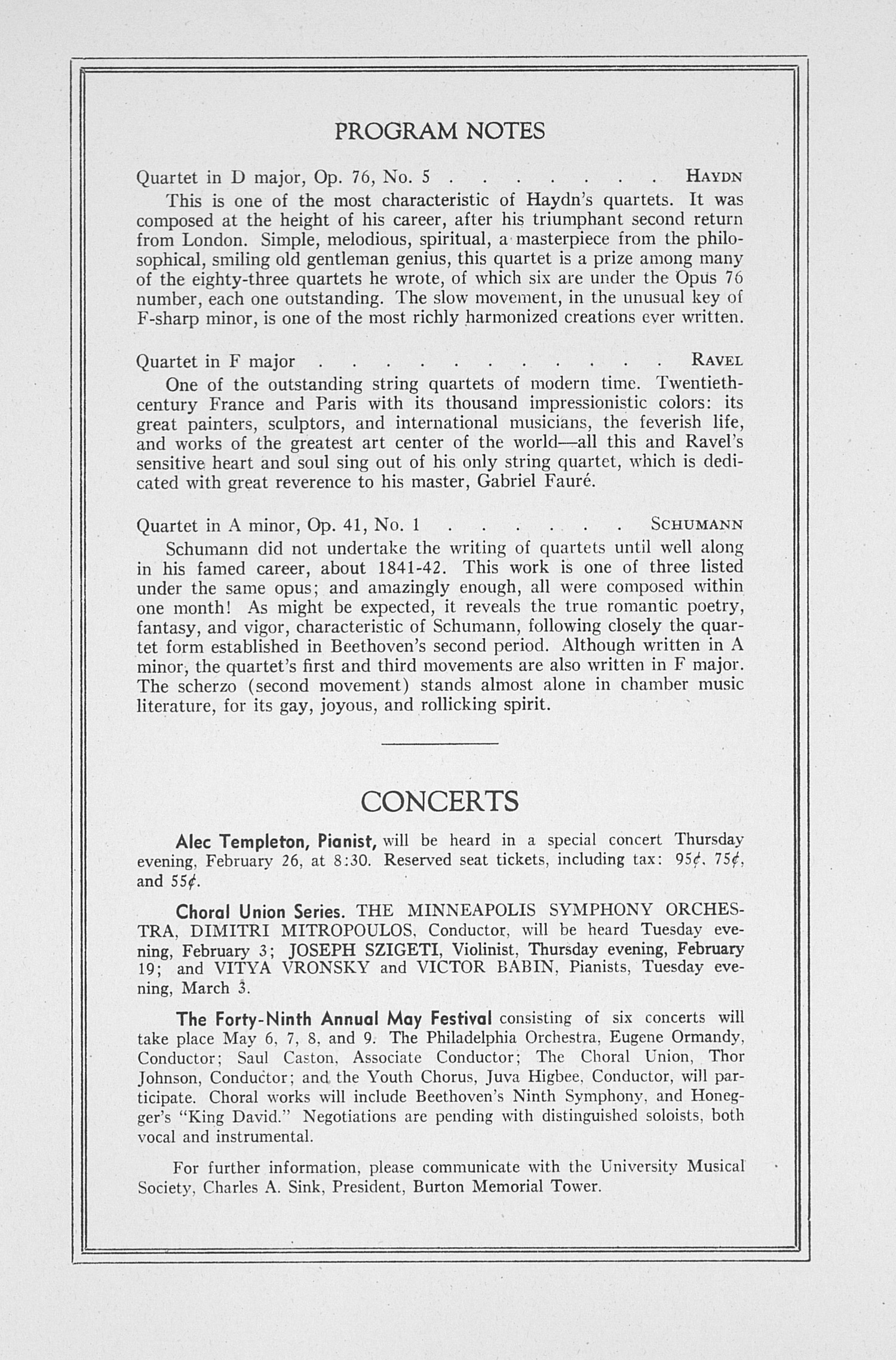 UMS Concert Program, January 23, 1942: Second Annual Chamber Music Festival -- Roth String Quartet image