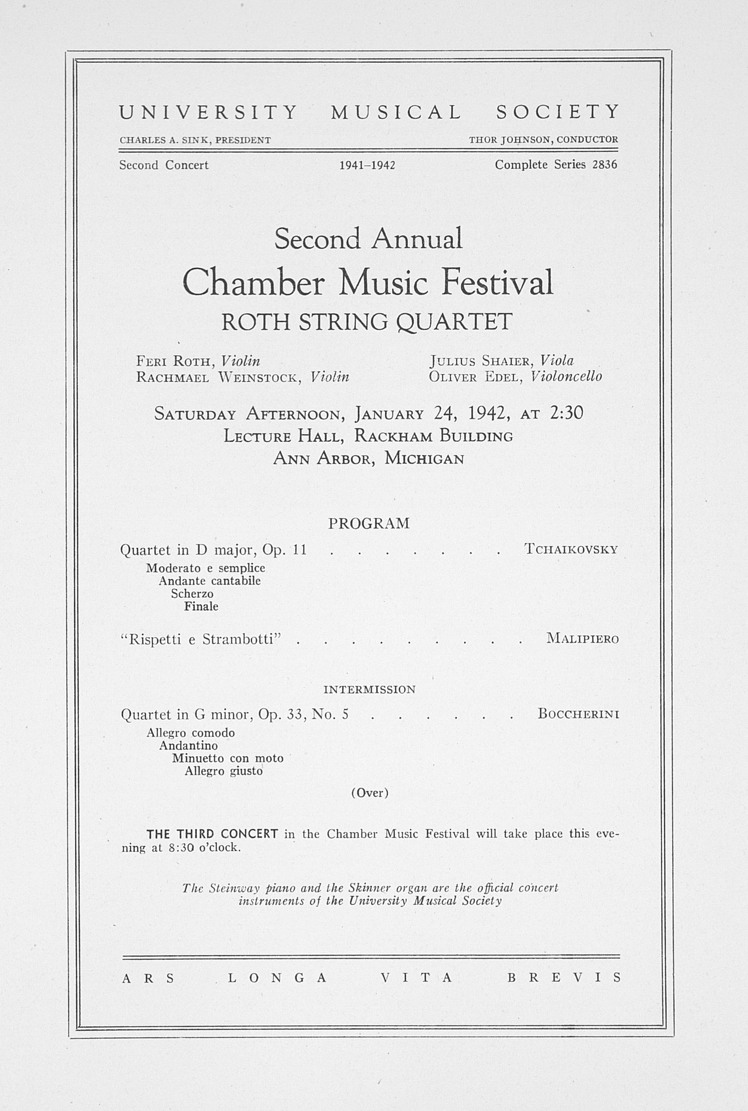 UMS Concert Program, January 24, 1942: Second Annual Chamber Music Festival -- Roth String Quartet image