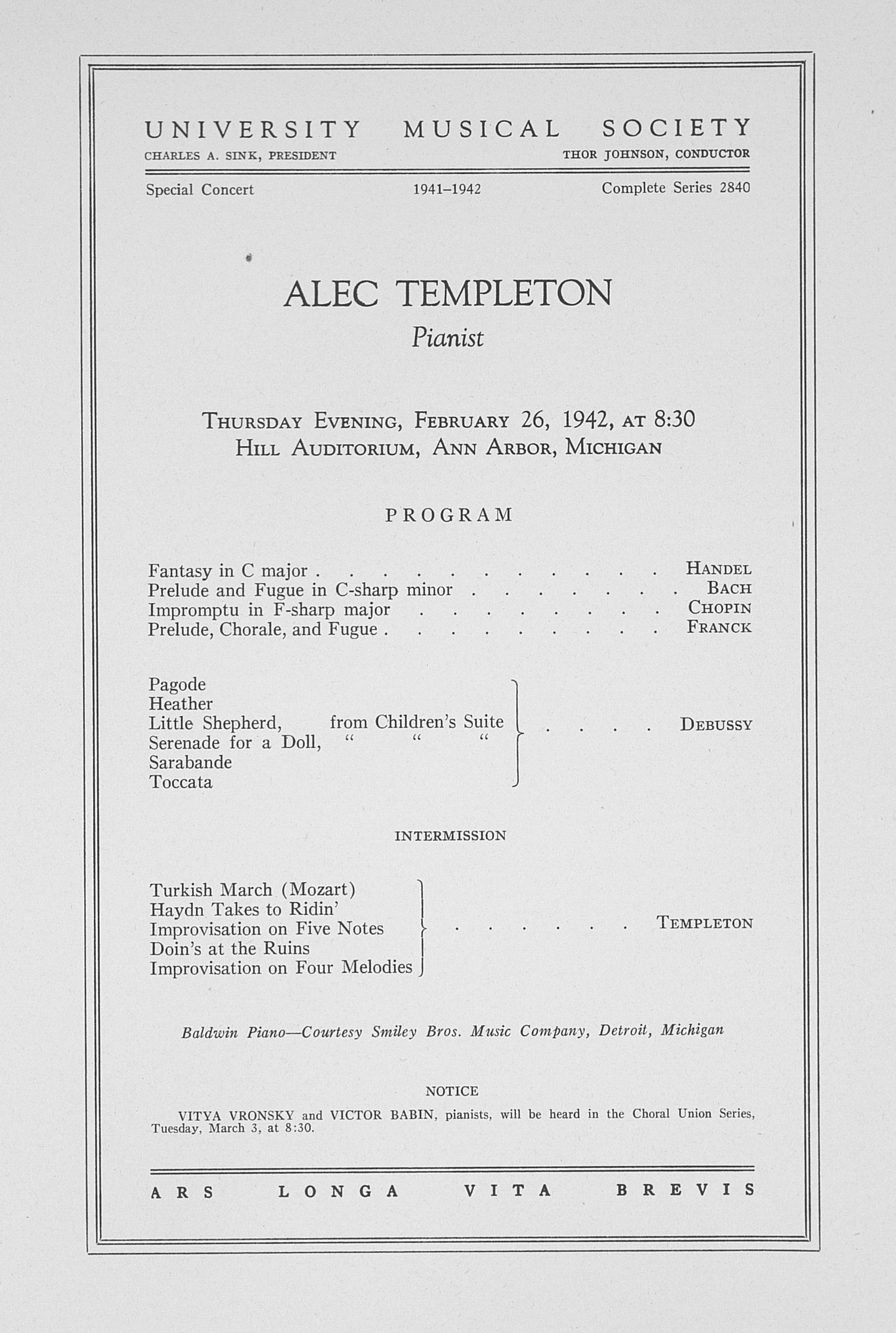 UMS Concert Program, February 26, 1942:  -- Alec Templeton image