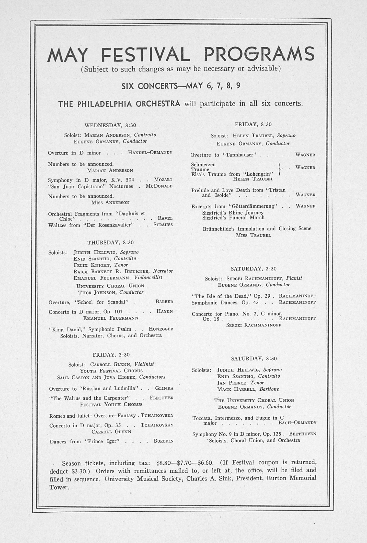 UMS Concert Program, March 3, 1942: Sixty-third Annual Choral Union Concert Series -- Vitya Vronsky image