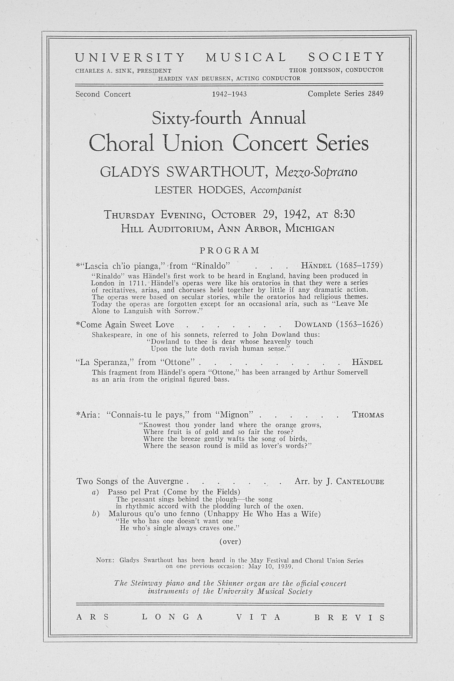 UMS Concert Program, October 29, 1942: Sixty-fourth Annual Choral Union Concert Series -- Gladys Swarthout image