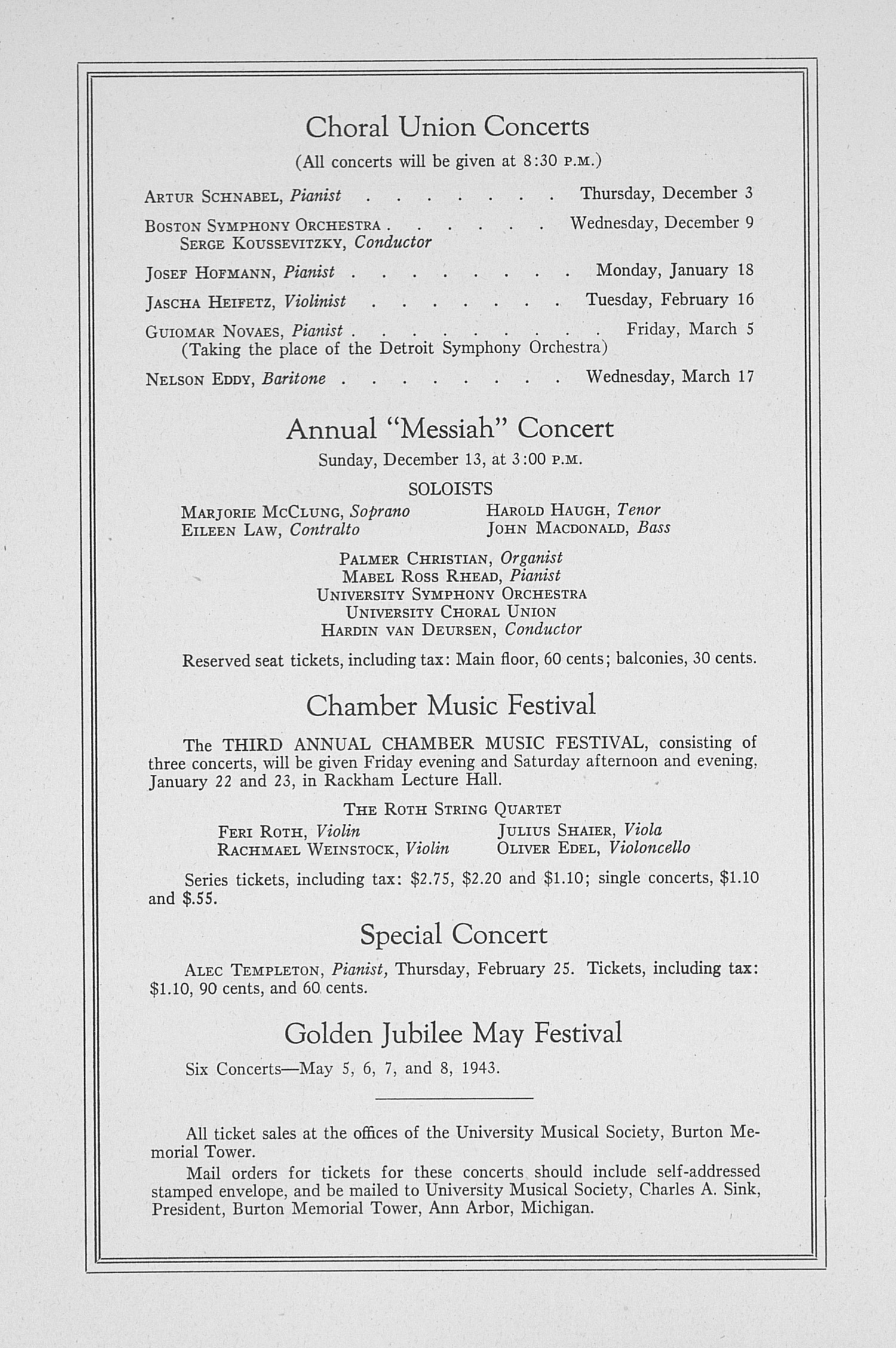 UMS Concert Program, November 19, 1942: Sixty-fourth Annual Choral Union Concert Series -- Albert Spalding image