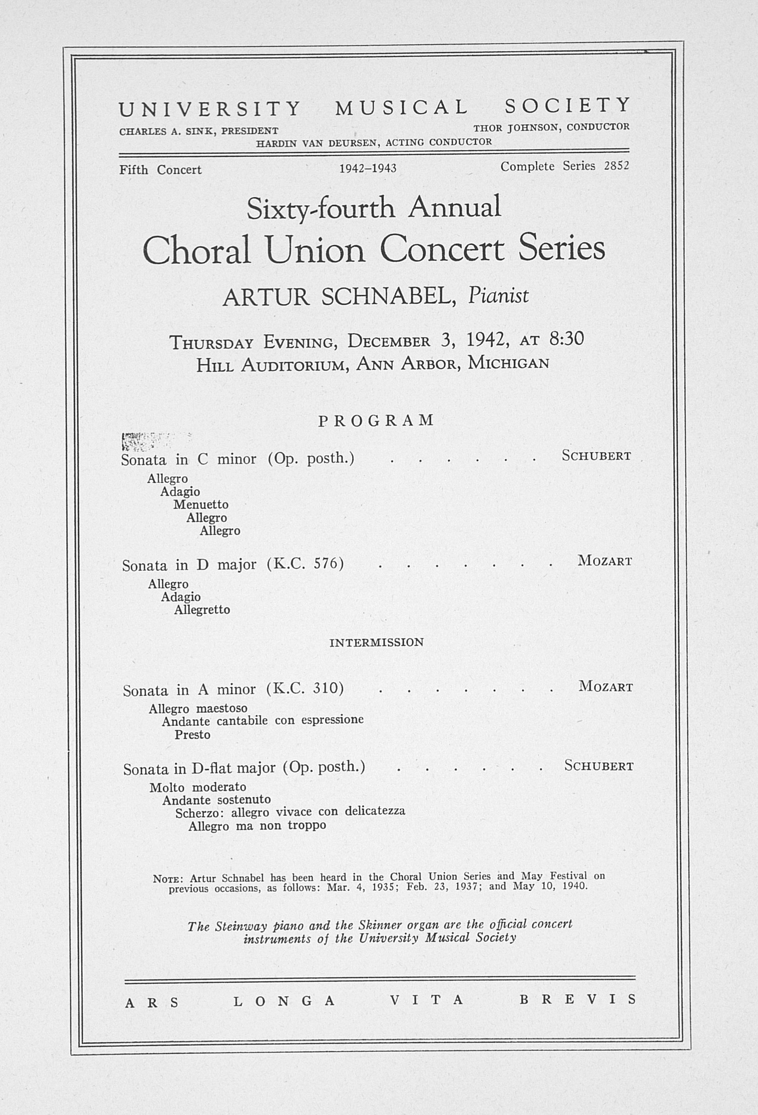 UMS Concert Program, December 3, 1942: Sixty-fourth Annual Choral Union Concert Series -- Artur Schnabel image