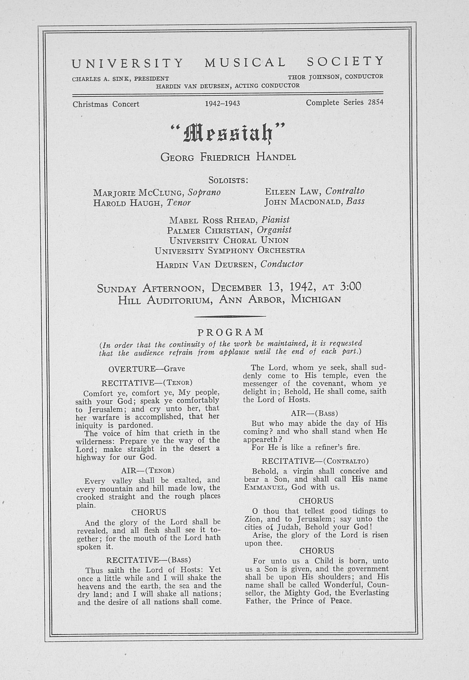 UMS Concert Program, December 13, 1942: \