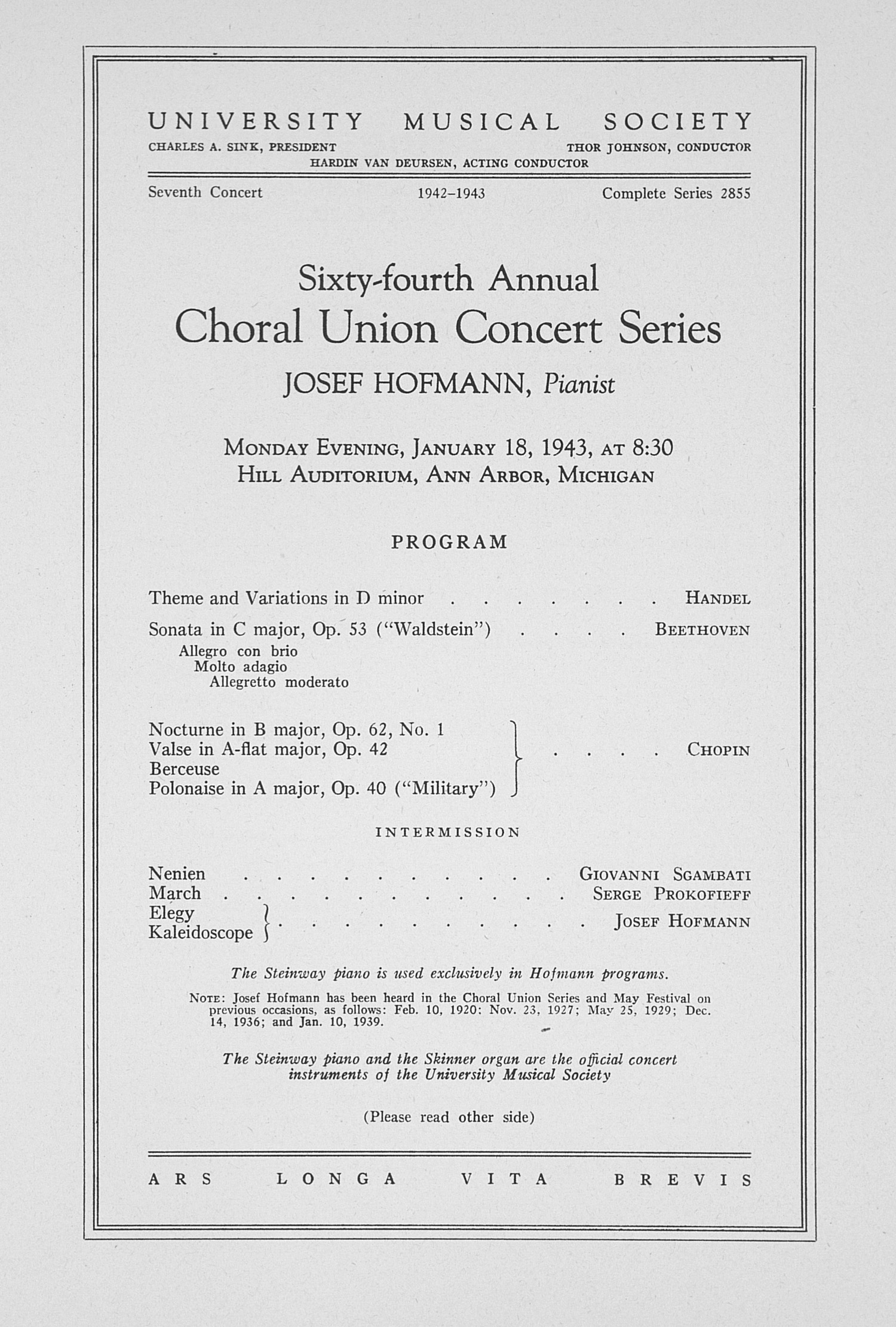 UMS Concert Program, January 18, 1943: Sixty-fourth Annual Choral Union Concert Series -- Josef Hofmann image