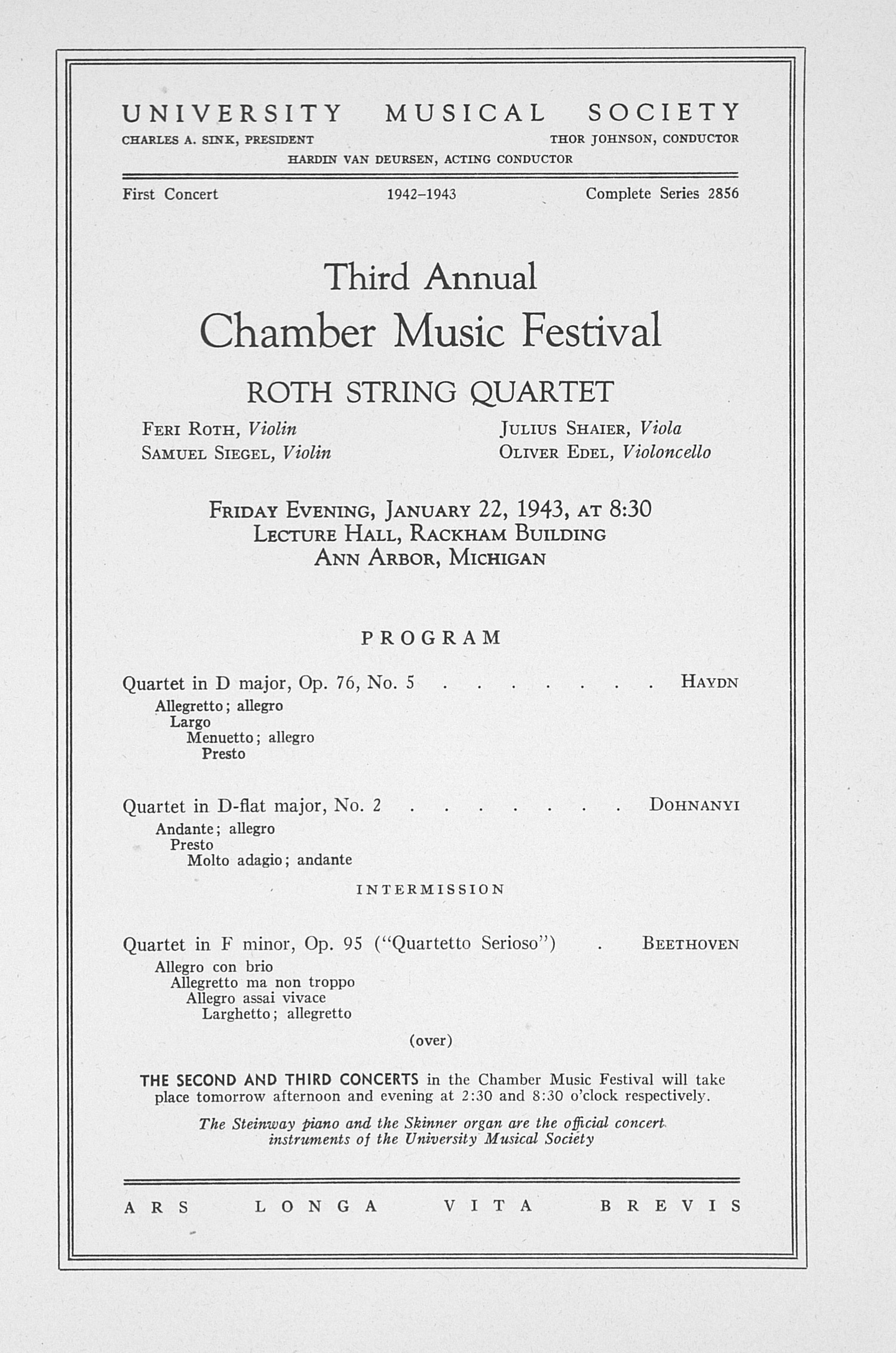 UMS Concert Program, January 22, 1943: Third Annual Chamber Music Festival -- Roth String Quartet image
