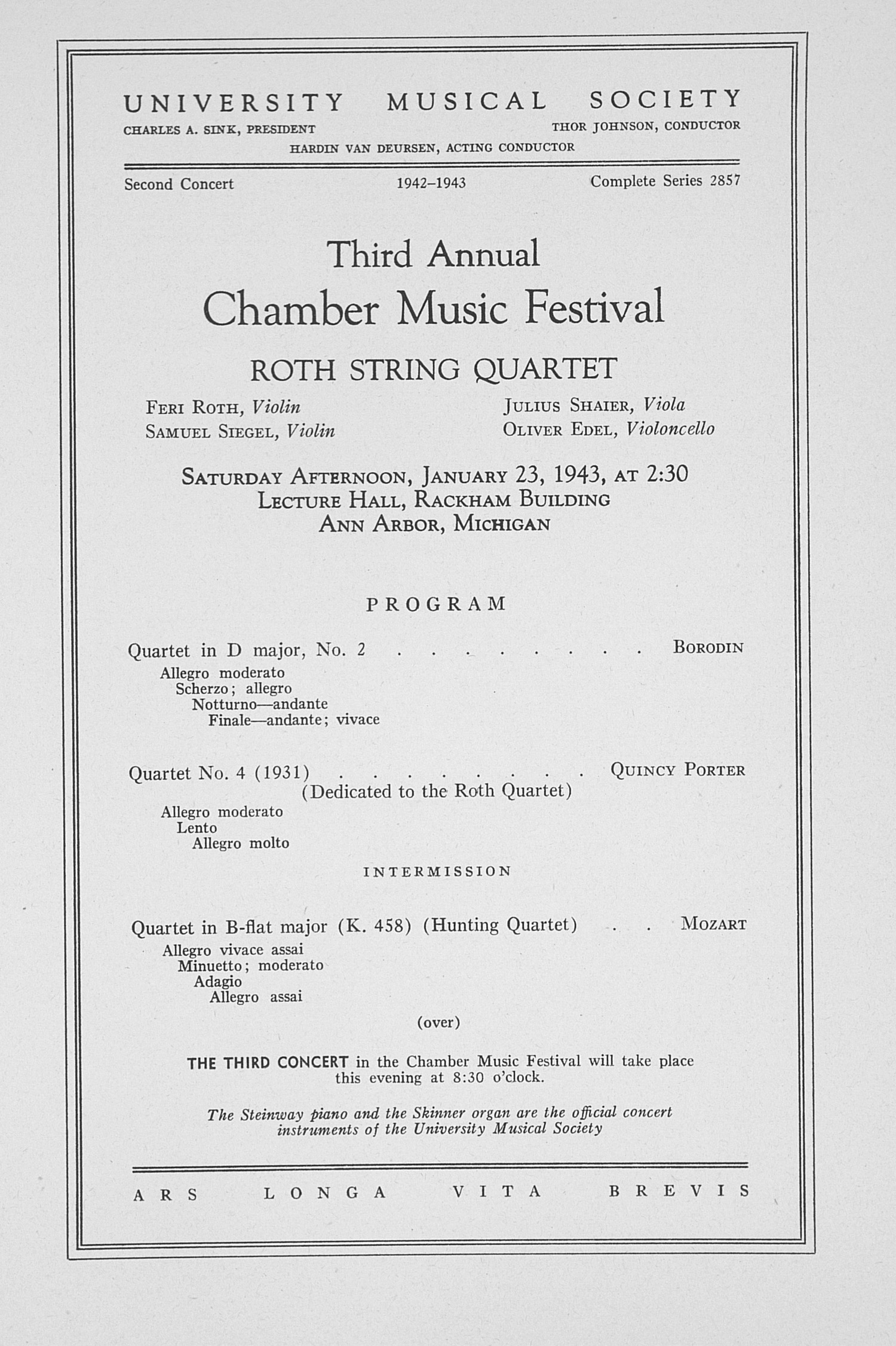 UMS Concert Program, January 23, 1943: Third Annual Chamber Music Festival -- Roth String Quartet image