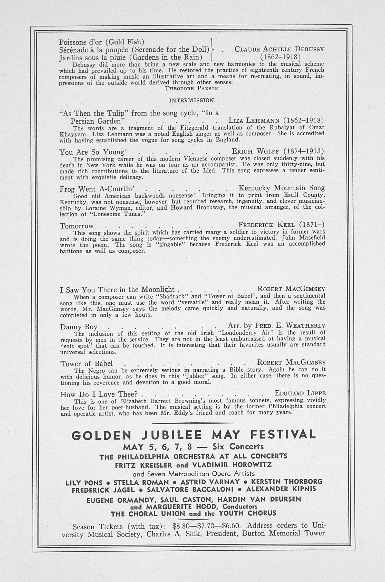 UMS Concert Program, March 17, 1943: Sixty-fourth Annual Choral Union Concert Series -- Nelson Eddy image