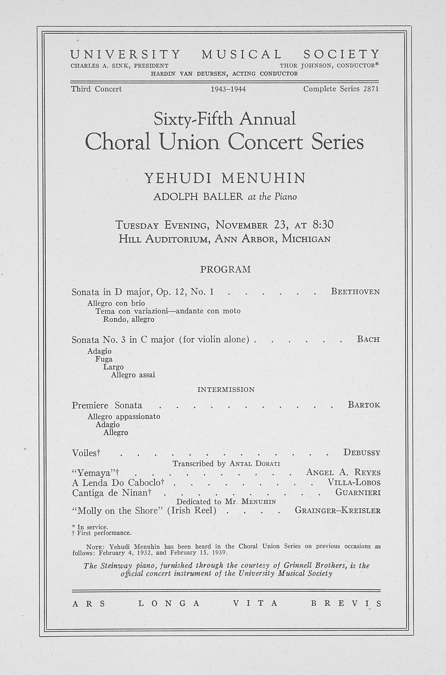 UMS Concert Program, November 23: Sixty-fifth Annual Choral Union Concert Series -- Yehudi Menuhin image