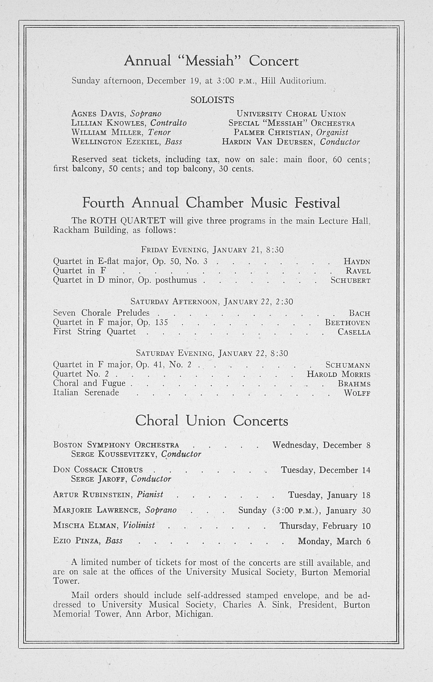 UMS Concert Program, December 3: Sixty-fifth Annual Choral Union Concert Series -- Claudio Arrau image