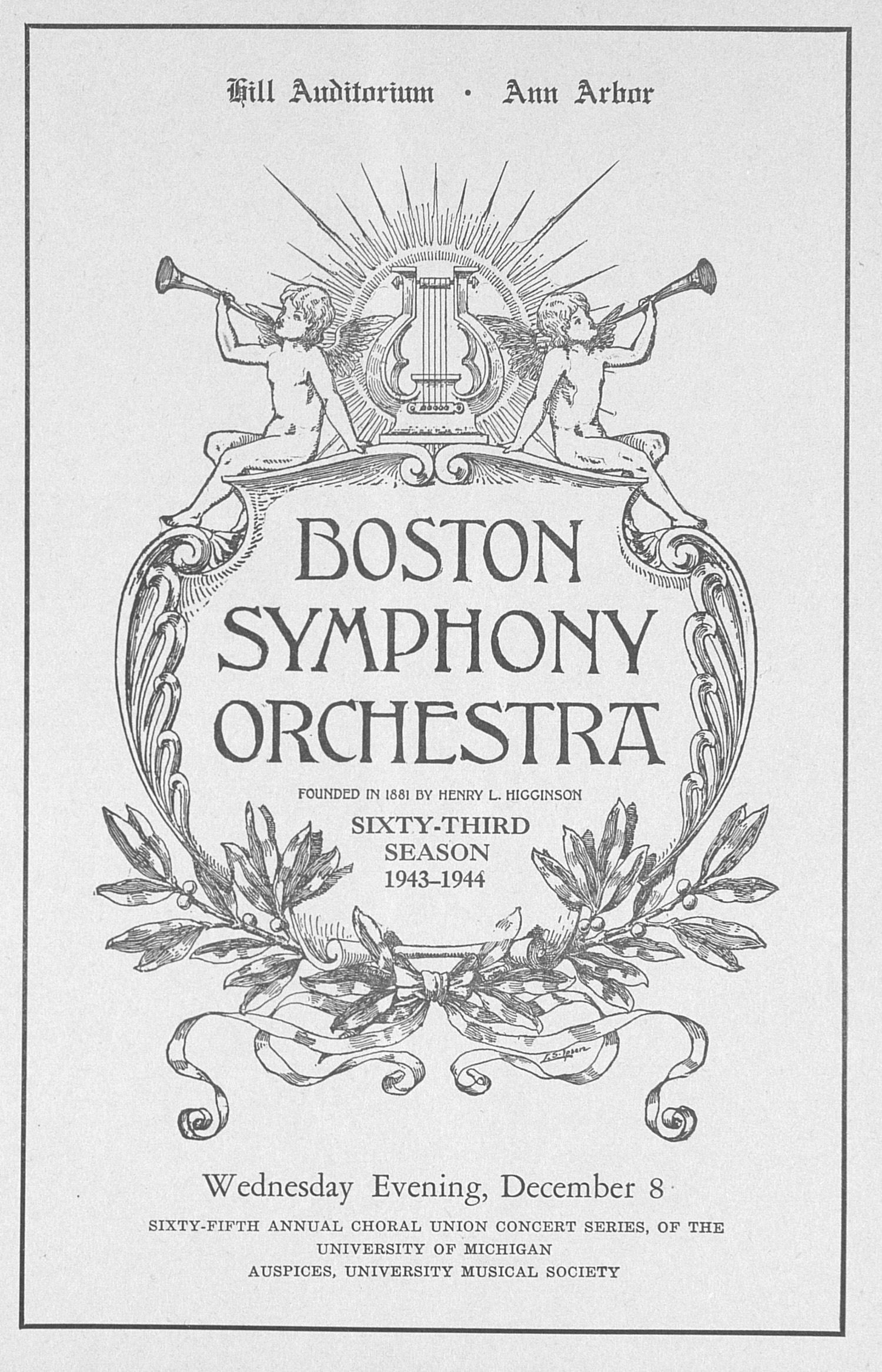 UMS Concert Program, December 8: Boston Symphony Orchestra -- Henry L. Higginson image