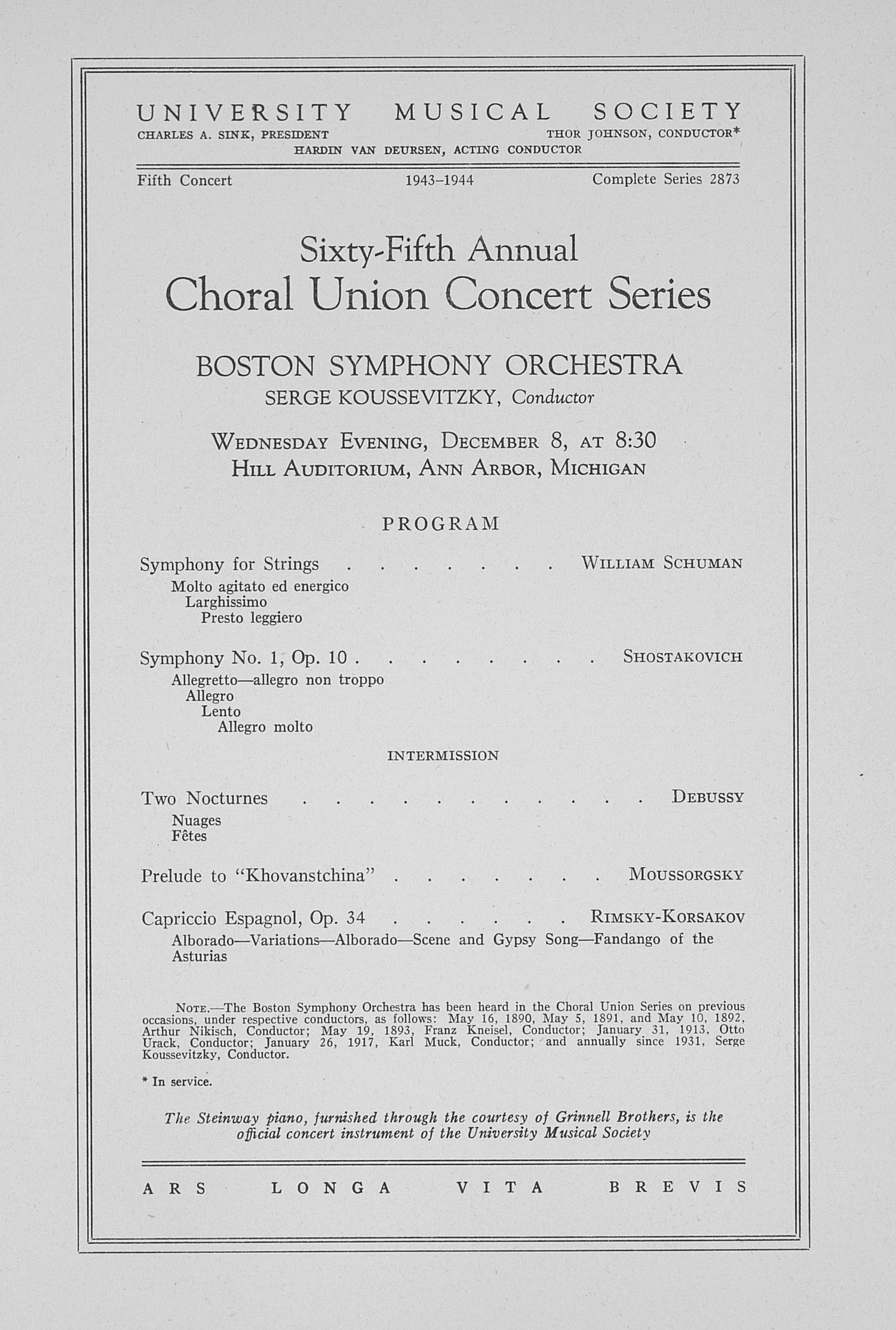 UMS Concert Program, December 8: Sixty-fifth Annual Choral Union Concert Series -- Boston Symphony Orchestra image