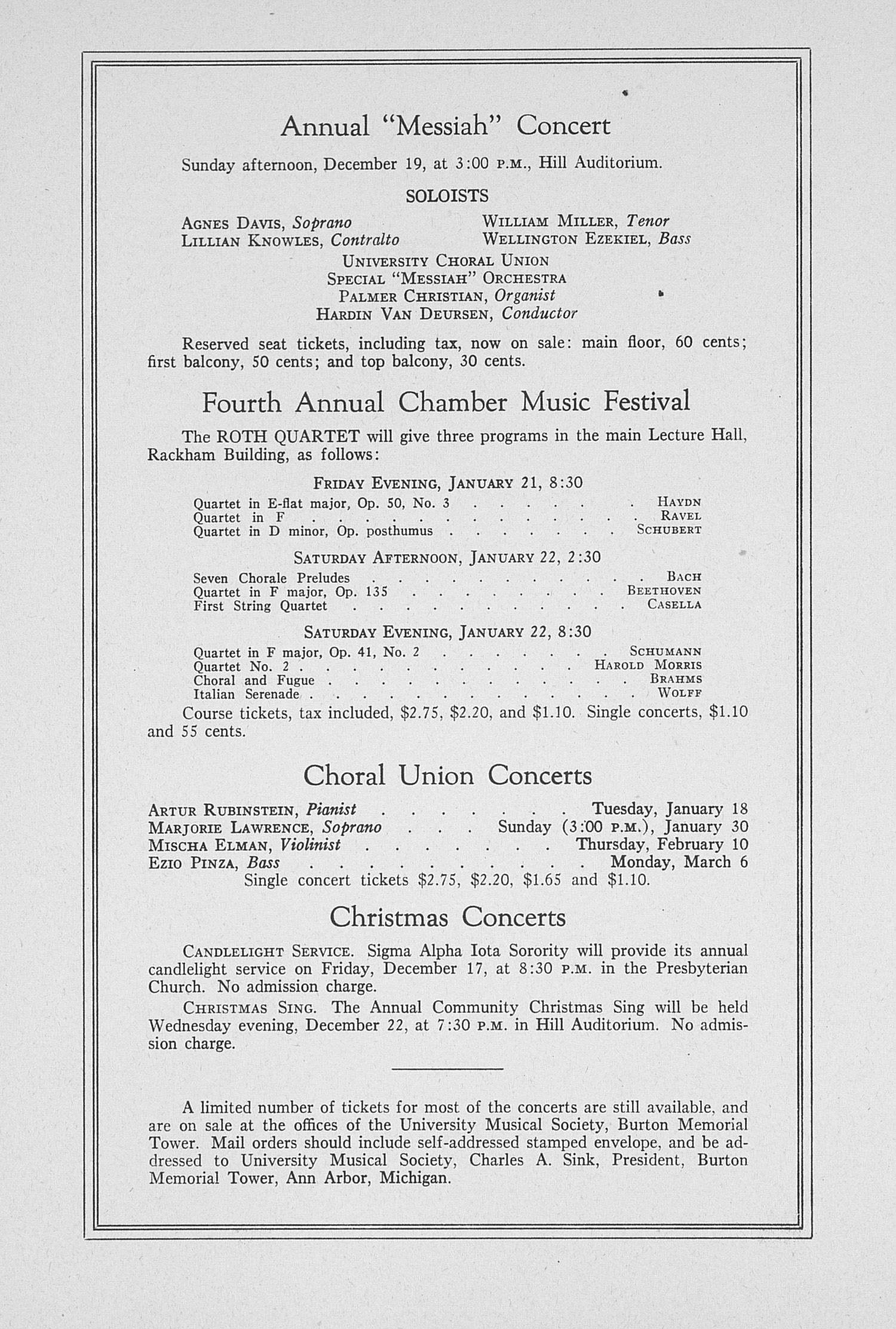 UMS Concert Program, December 14: Sixty-fifth Annual Choral Union Concert Series -- Don Cossack Chorus image
