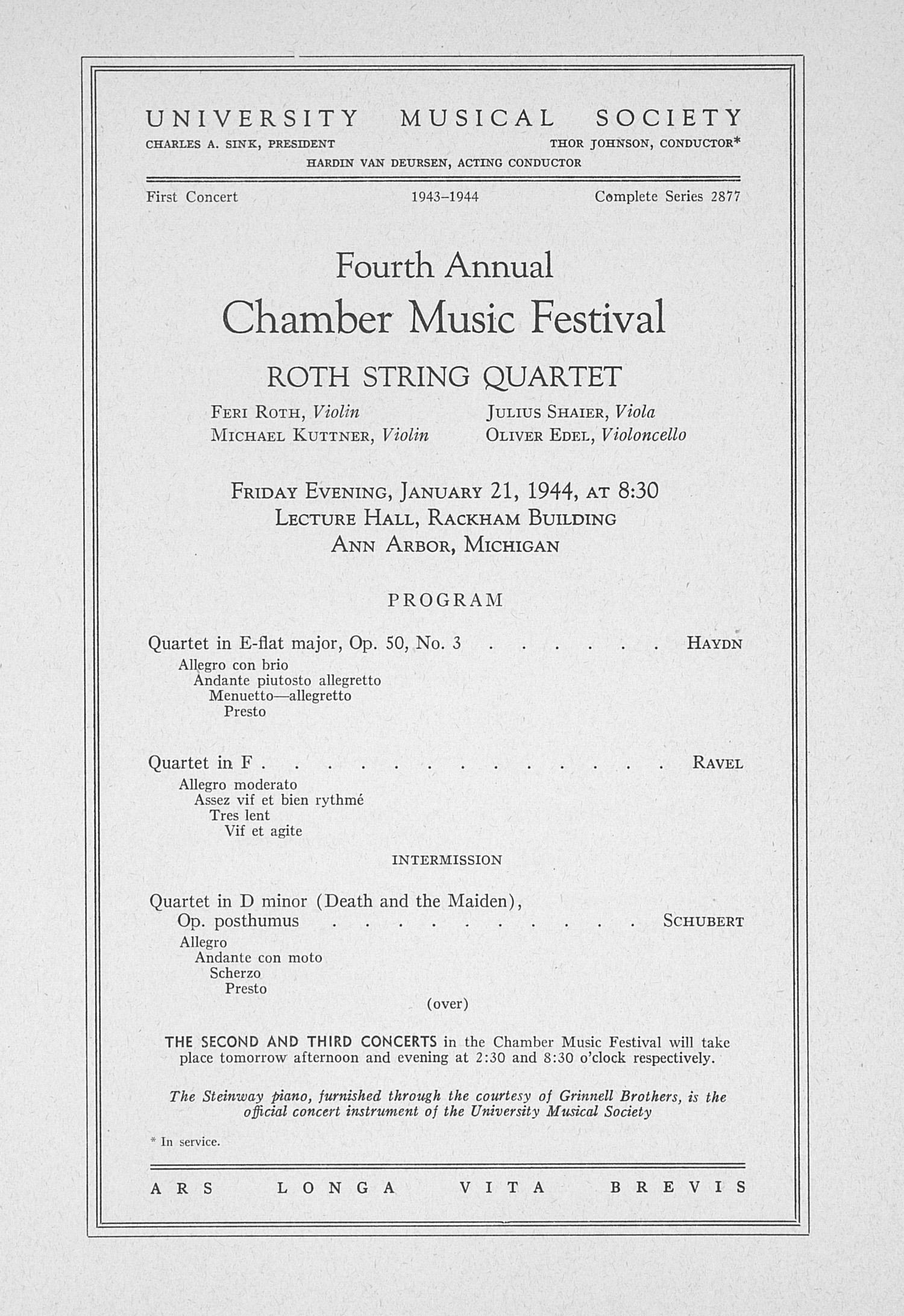 UMS Concert Program, January 21, 1944: Fourth Annual Chamber Music Festival -- Roth String Quartet image