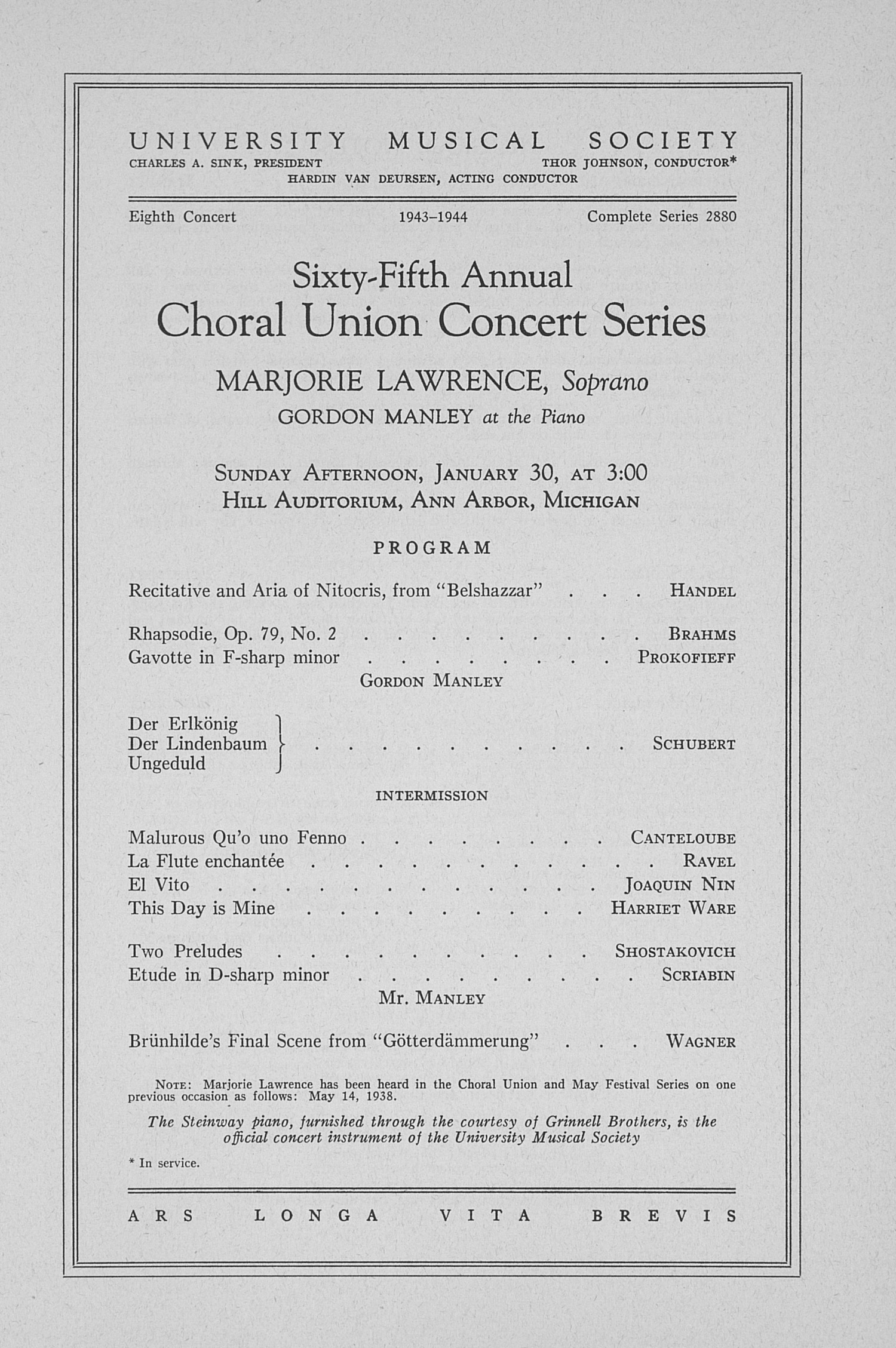 UMS Concert Program, January 30: Sixty-fifth Annual Choral Union Concert Series -- Marjorie Lawrence image