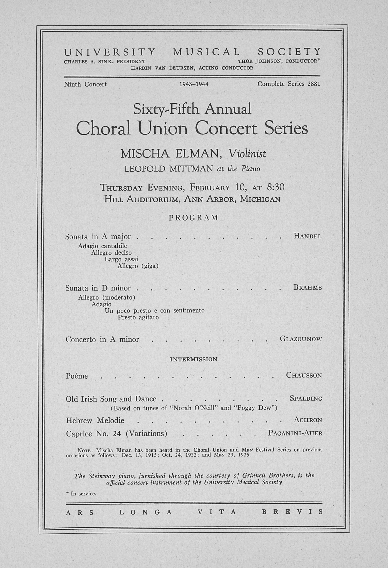 UMS Concert Program, February 10: Sixty-fifth Annual Choral Union Concert Series -- Mischa Elman image