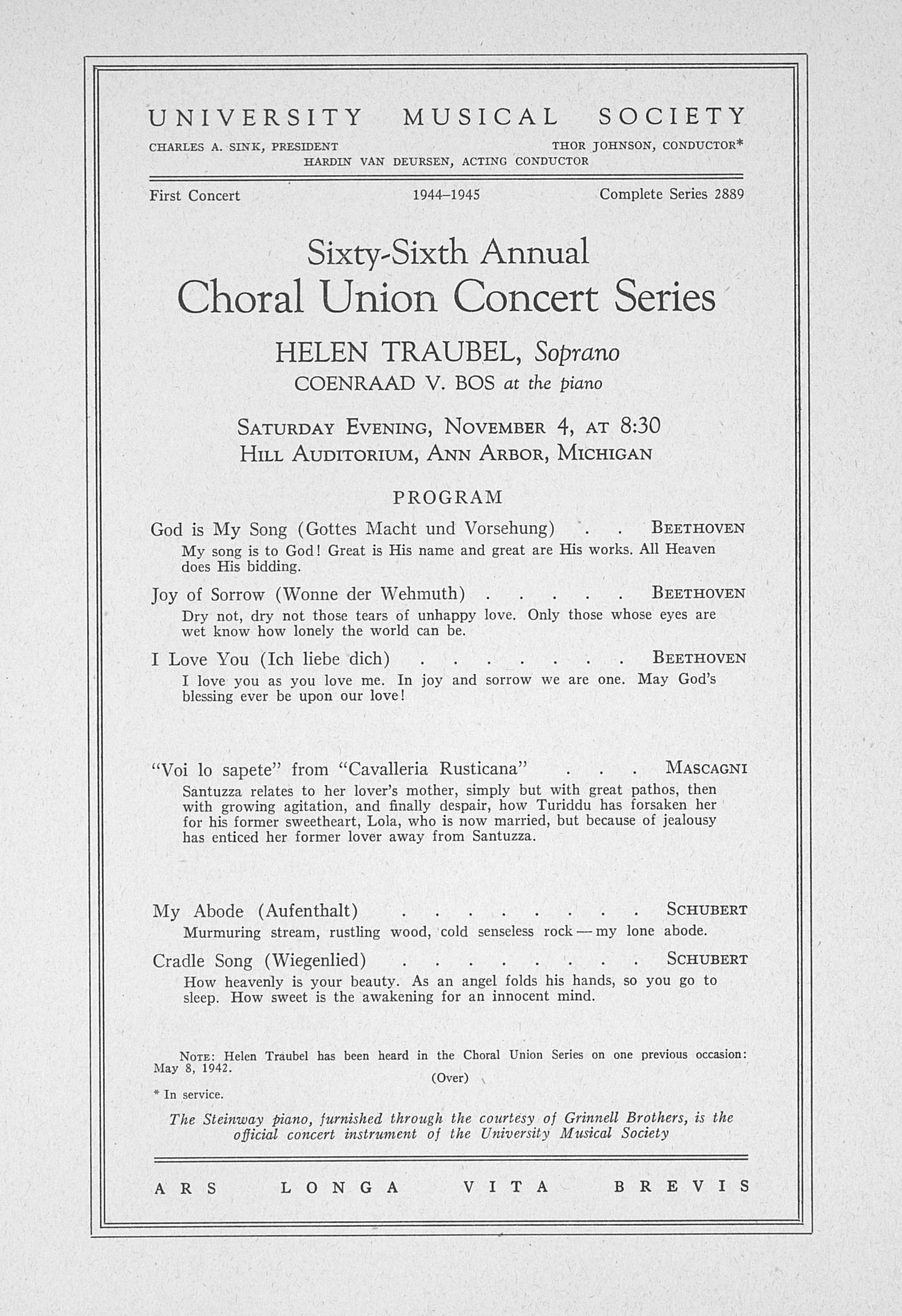 UMS Concert Program, November 4: Sixty-sixth Annual Choral Union Concert Series -- Helen Traubel image