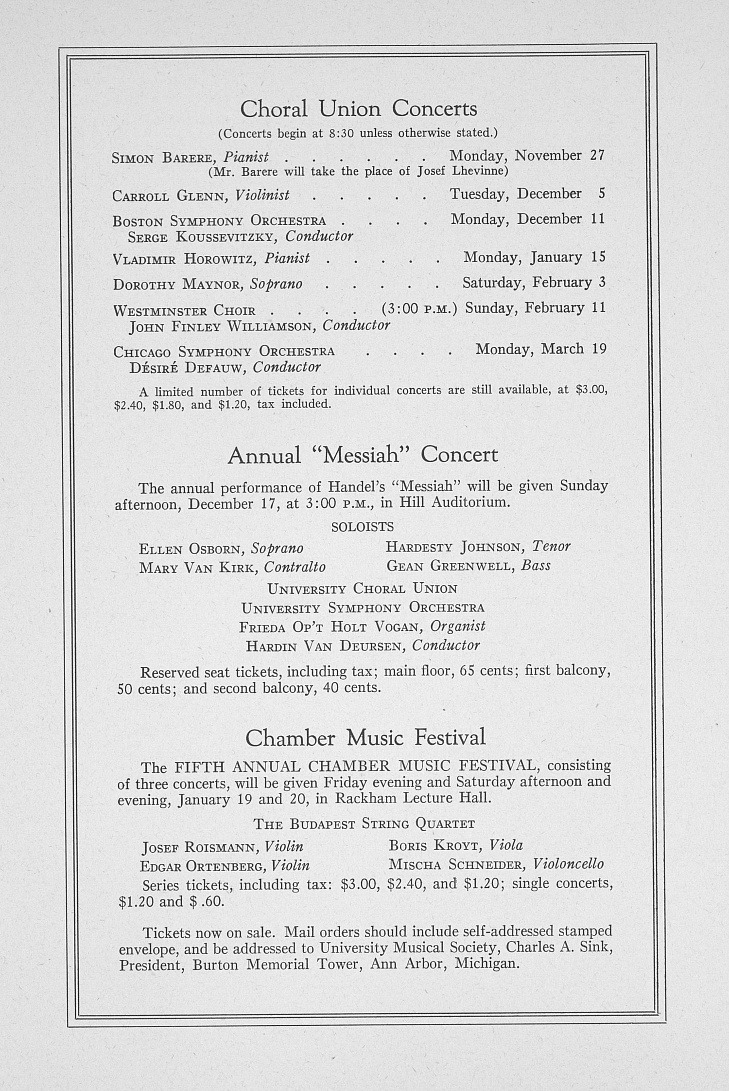 UMS Concert Program, November 17: Sixty-sixth Annual Choral Union Concert Series -- Fritz Kreisler image