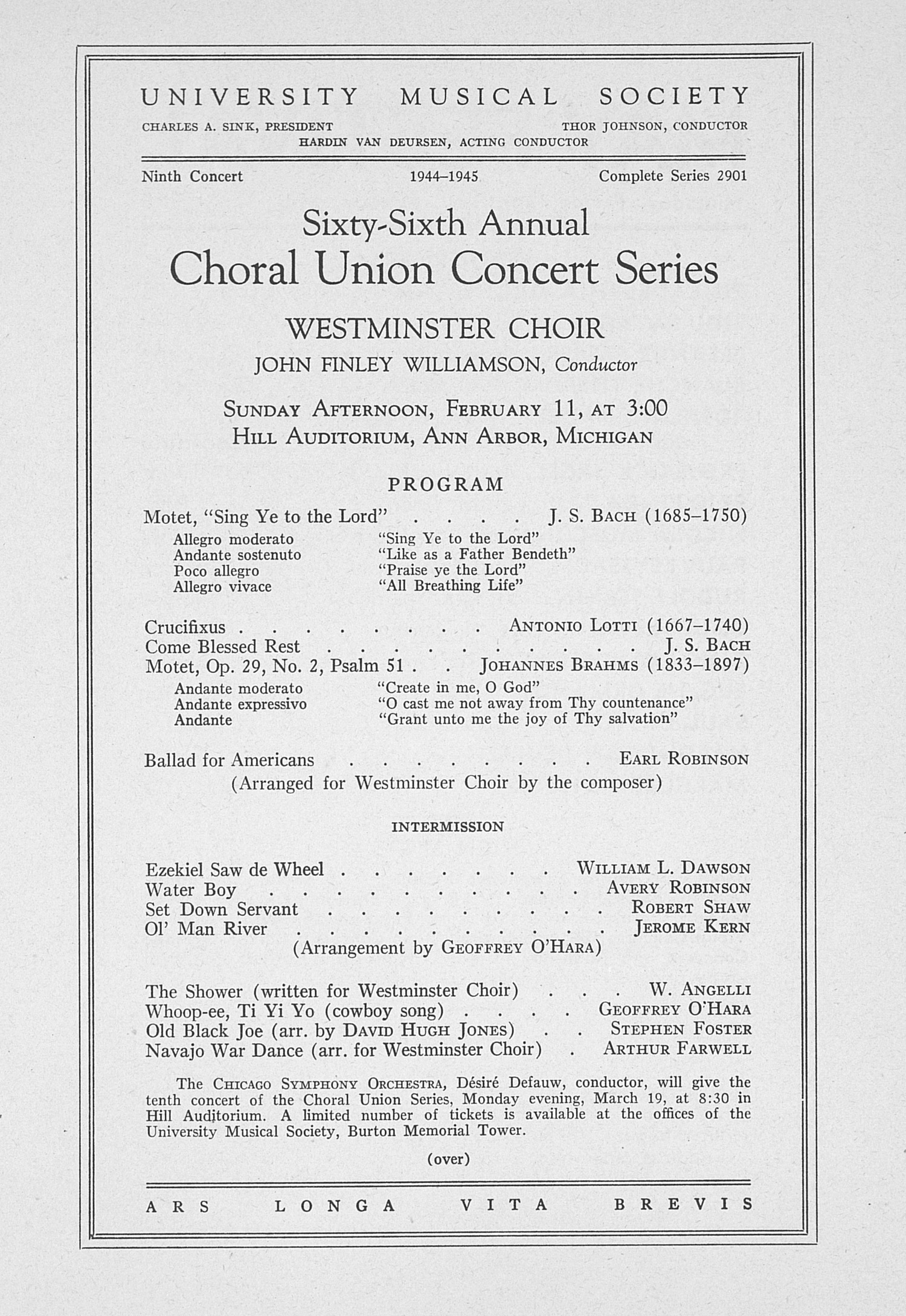 UMS Concert Program, February 11: Sixty-sixth Annual Choral Union Concert Series -- Westminster Choir image