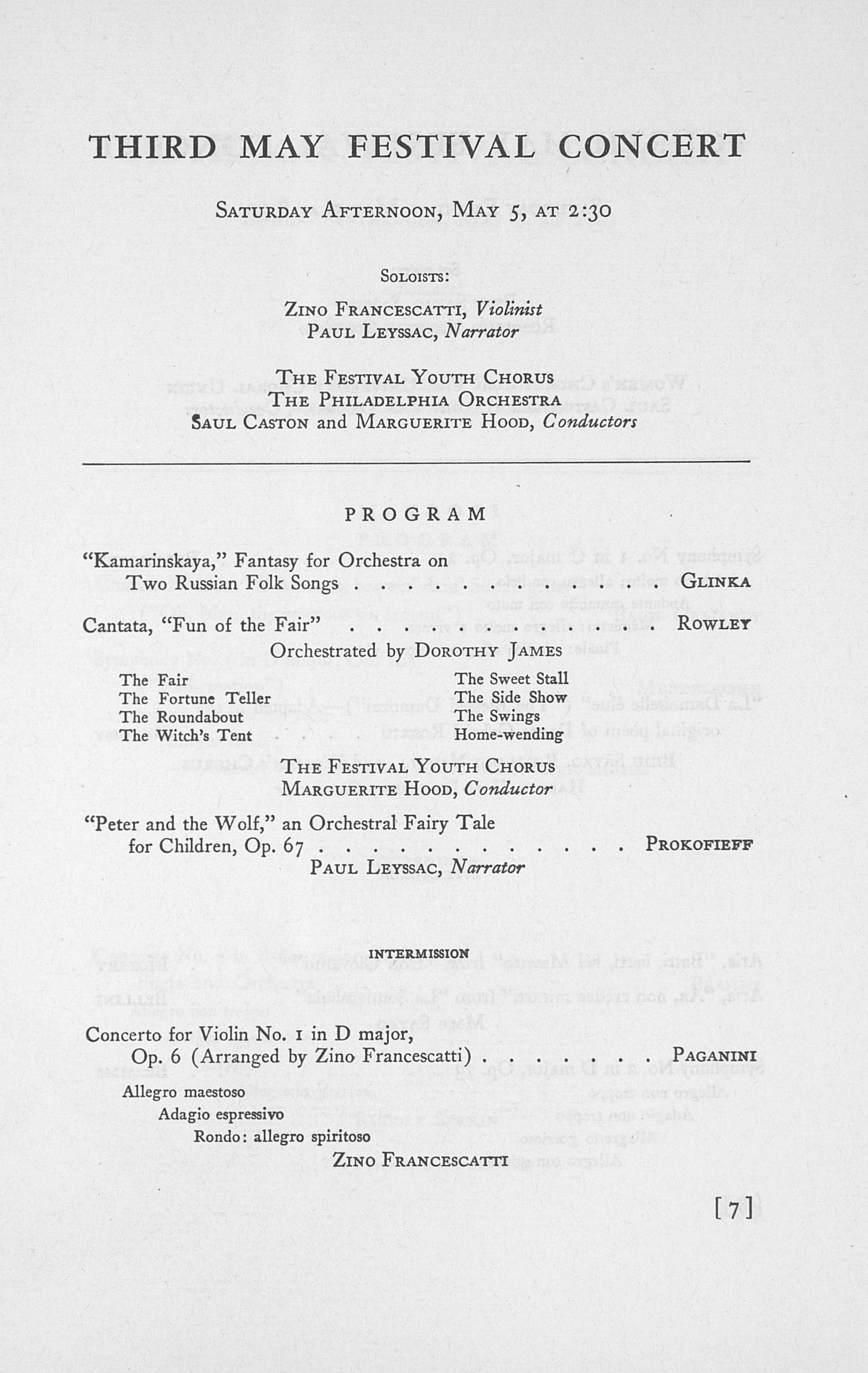 UMS Concert Program, May 3, 4, 5, And 6, 1945: The Fifty-second Annual May Festival -- Glenn D. Mcgeoch image