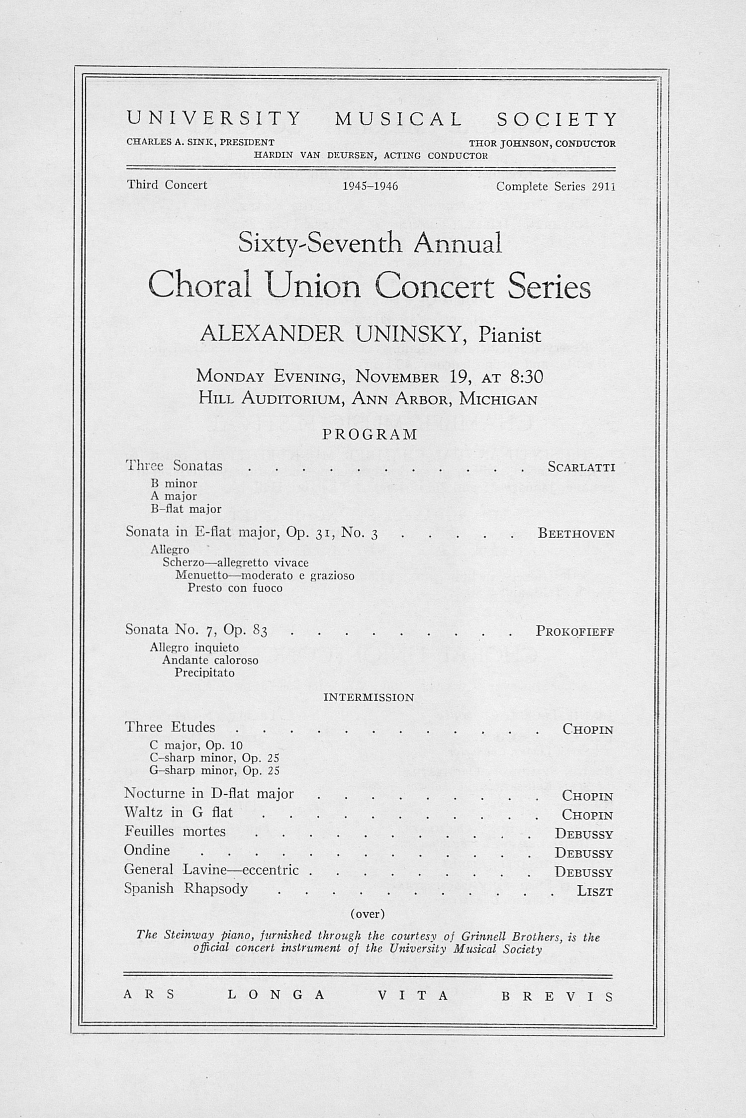 UMS Concert Program, November 19: Sixty-seventh Annual Choral Union Concert Series -- Alexander Uninsky image