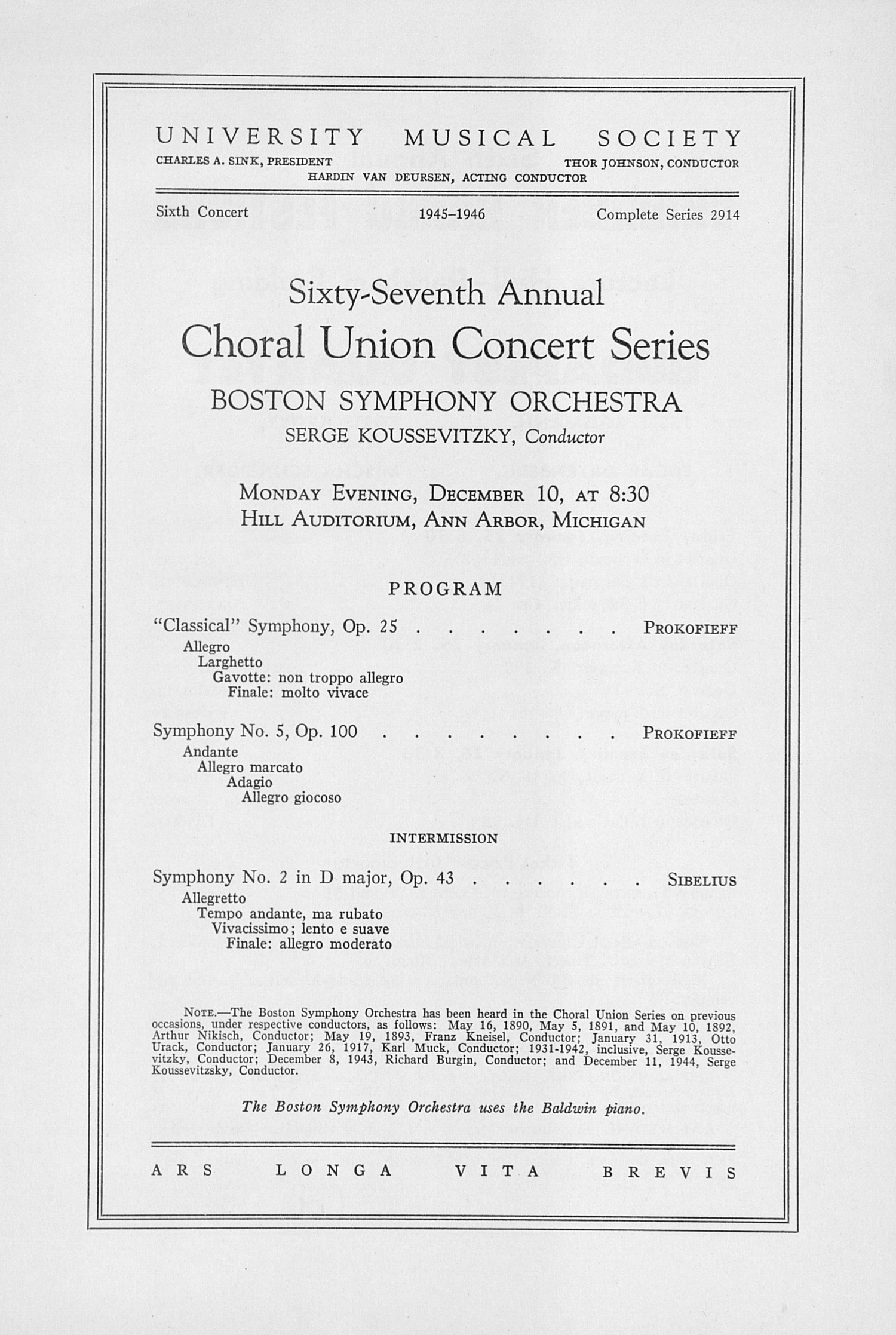 UMS Concert Program, December 10: Sixty-seventh Annual Choral Union Concert Series -- Boston Symphony Orchestra image