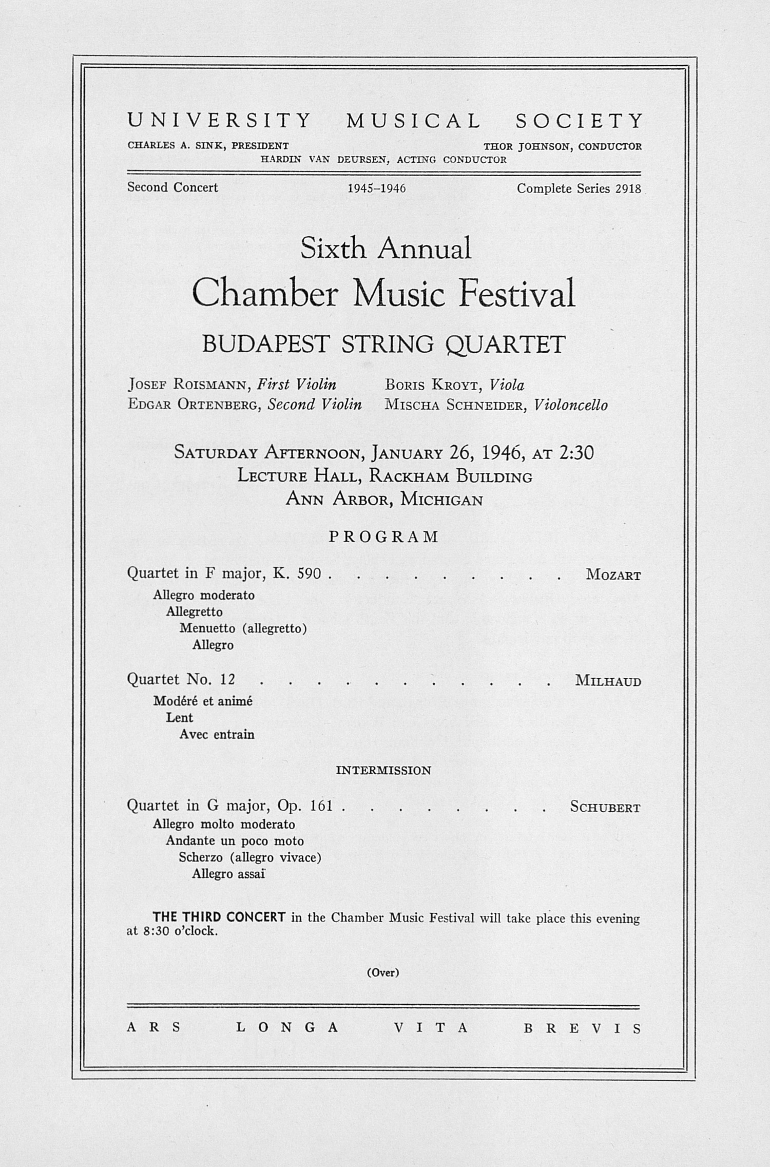 UMS Concert Program, January 26, 1946: Sixth Annual Chamber Music Festival -- Budapest String Quartet image