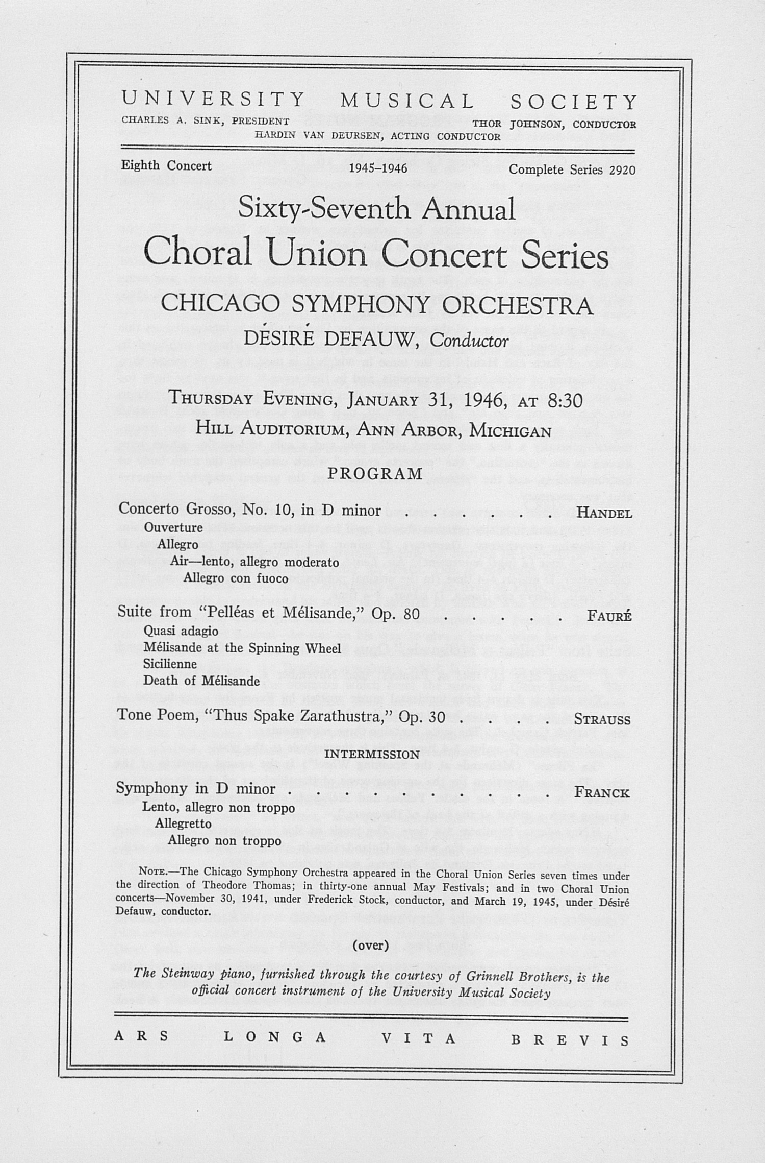 UMS Concert Program, January 31, 1946: Sixty-seventh Annual Choral Union Concert Series -- Chicago Symphony Orchestra image