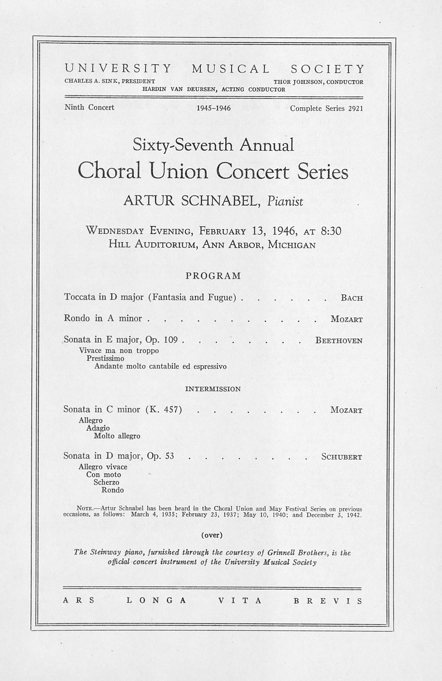 UMS Concert Program, February 13, 1946: Sixty-seventh Annual Choral Union Concert Series -- Artur Schnabel image
