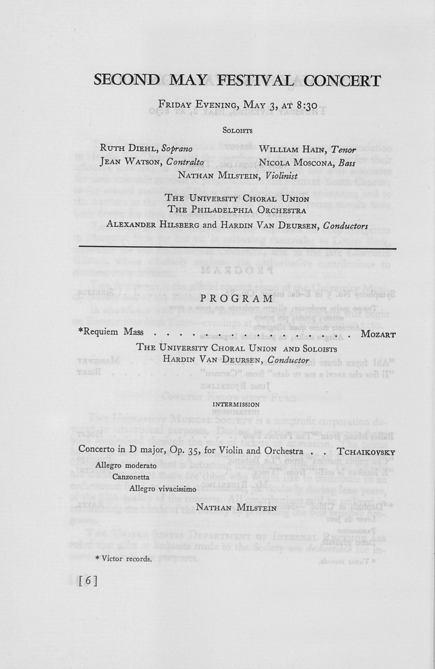 UMS Concert Program, May 2, 3, 4, And 5, 1946: The Fifty-third Annual May Festival -- Glenn D. Mcgeoch image
