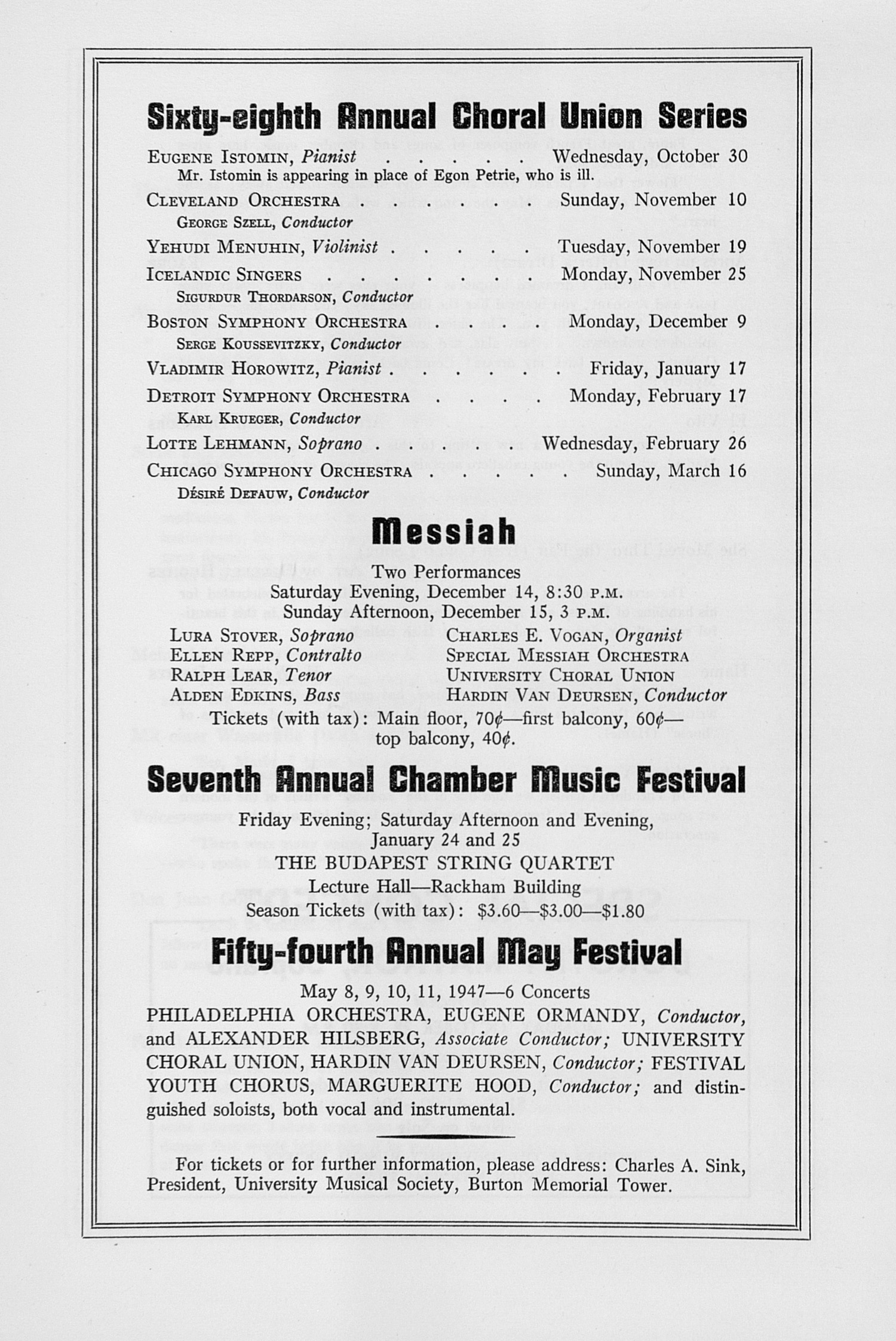 UMS Concert Program, October 10, 1946: Sixty-eighth Annual Choral Union Concert Series -- James Melton image