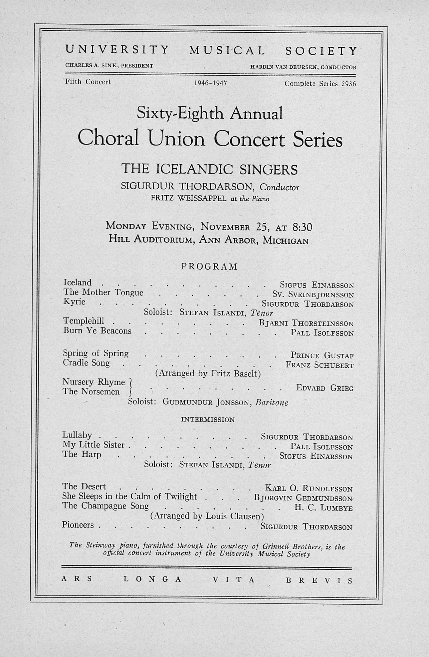UMS Concert Program, November 25: Sixty-eighth Annual Choral Union Concert Series -- The Icelandic Singers image