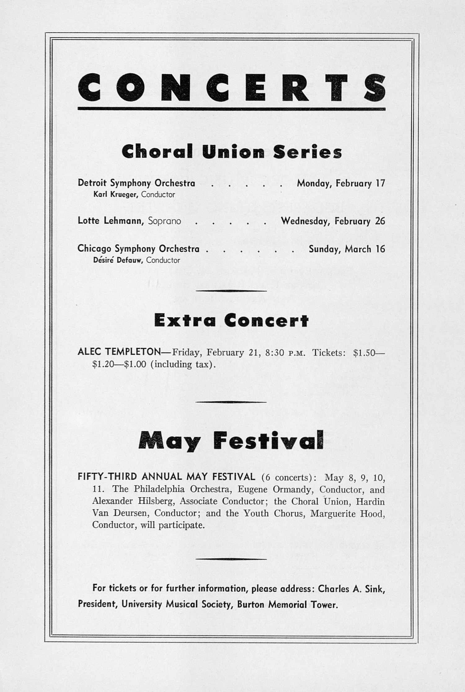 UMS Concert Program, January 24, 1947: Seventh Annual Chamber Music Festival -- Budapest String Quartet image