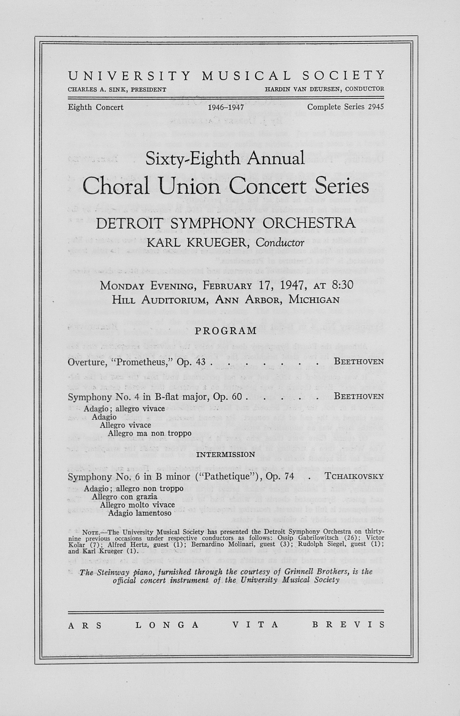 UMS Concert Program, February 17, 1947: Sixty-eighth Annual Choral Union Concert Series -- Detroit Symphony Orchestra image