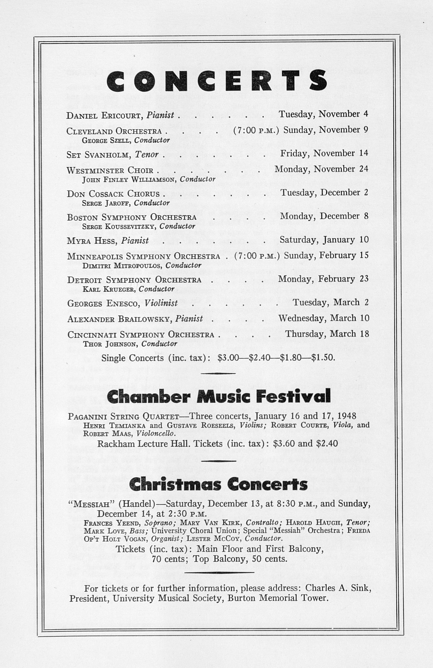 UMS Concert Program, October 26, 1947: Sixty-ninth Annual Choral Union Concert Series -- Chicago Symphony Orchestra image