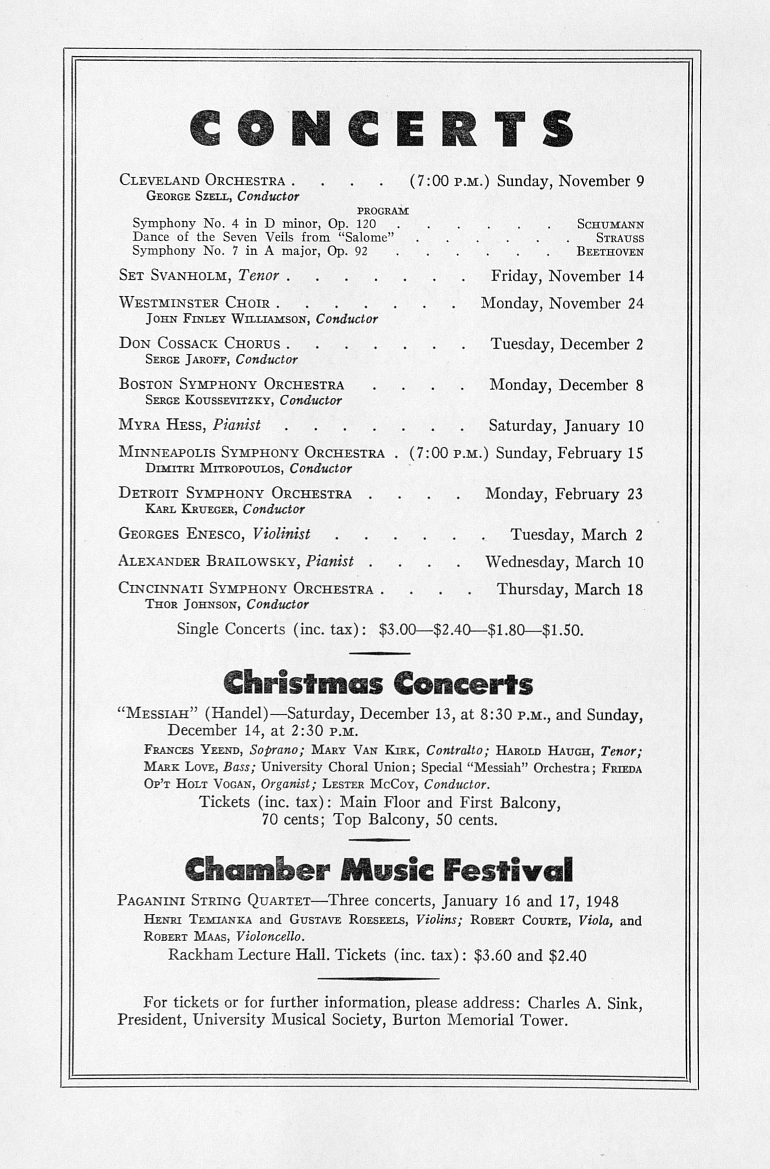 UMS Concert Program, November 4, 1947: Sixty-ninth Annual Choral Union Concert Series -- Daniel Ericourt image